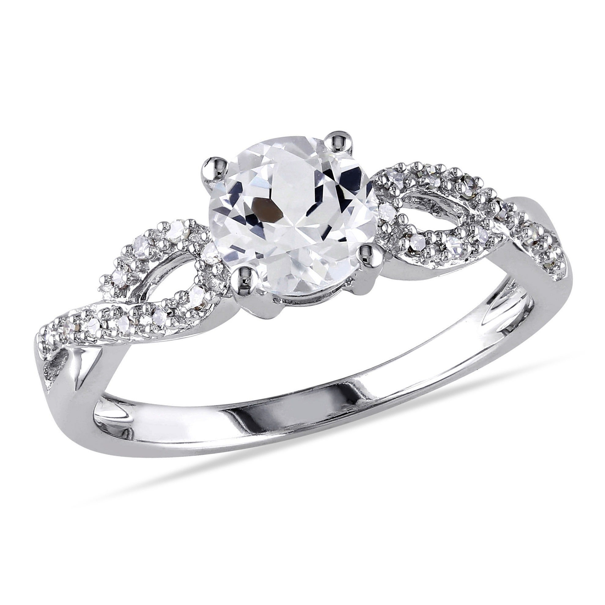Miadora 10k White Gold Created White Sapphire and 1 10ct TDW