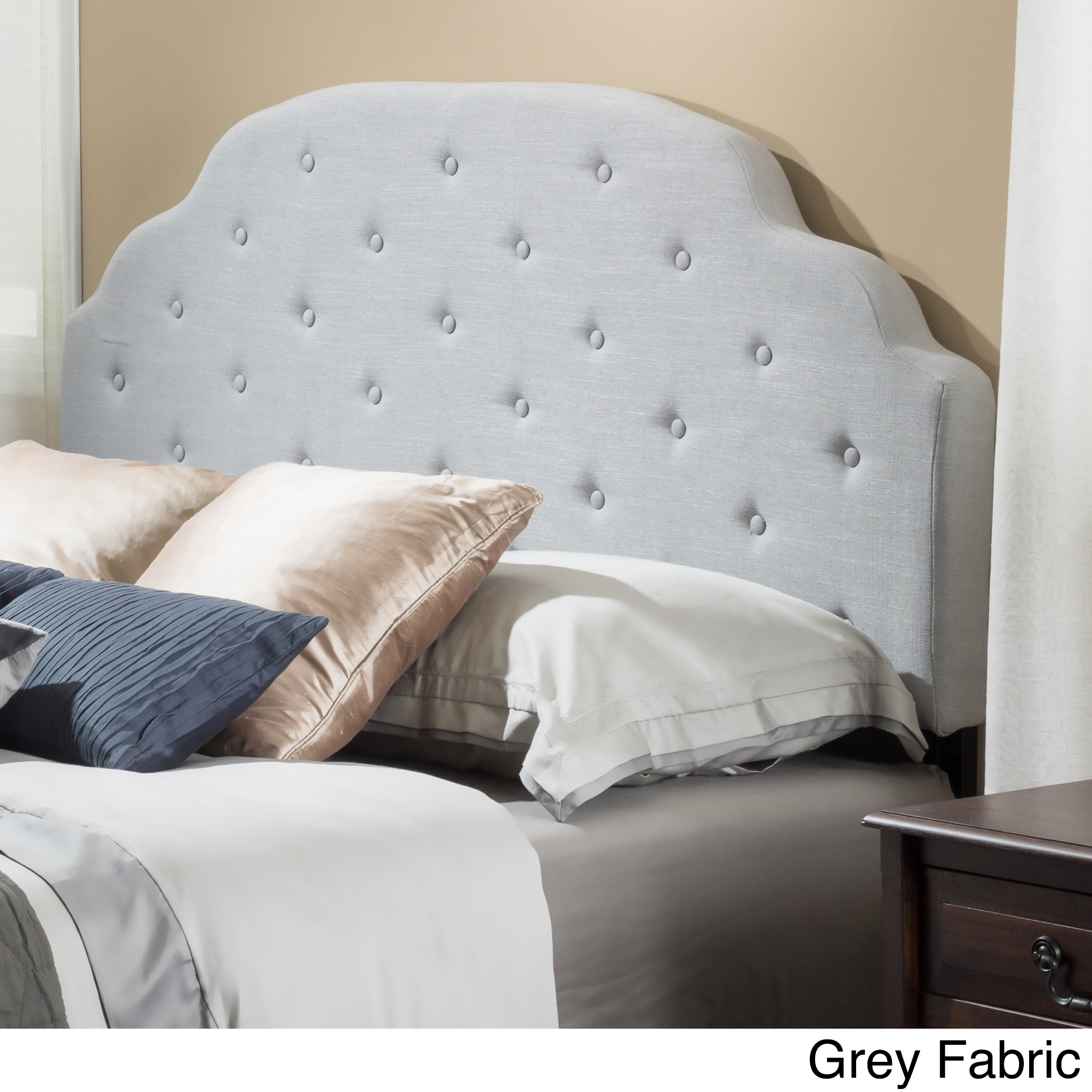 a tall arched upholstered luxurious and fabric for curved diamond side is headboard footboard pin tufted low grey feel paired rails with profile sides