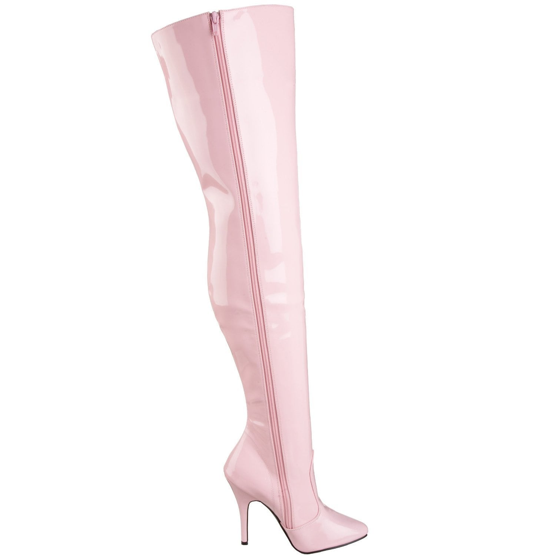7a192f3f4e5de4 Shop Pleaser Women s SEDUCE-3010 5-inch Stiletto Heel Classic Plain Thigh High  Boots - Free Shipping Today - Overstock - 8609971