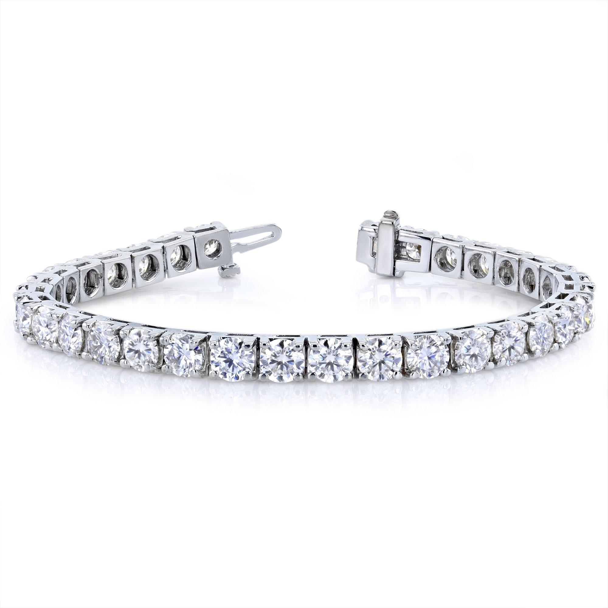 Annello By Kobelli 10k White Gold 16 1 2 Carats Tgw Moissanite Tennis Bracelet Hi Vs On Free Shipping Today 8611905