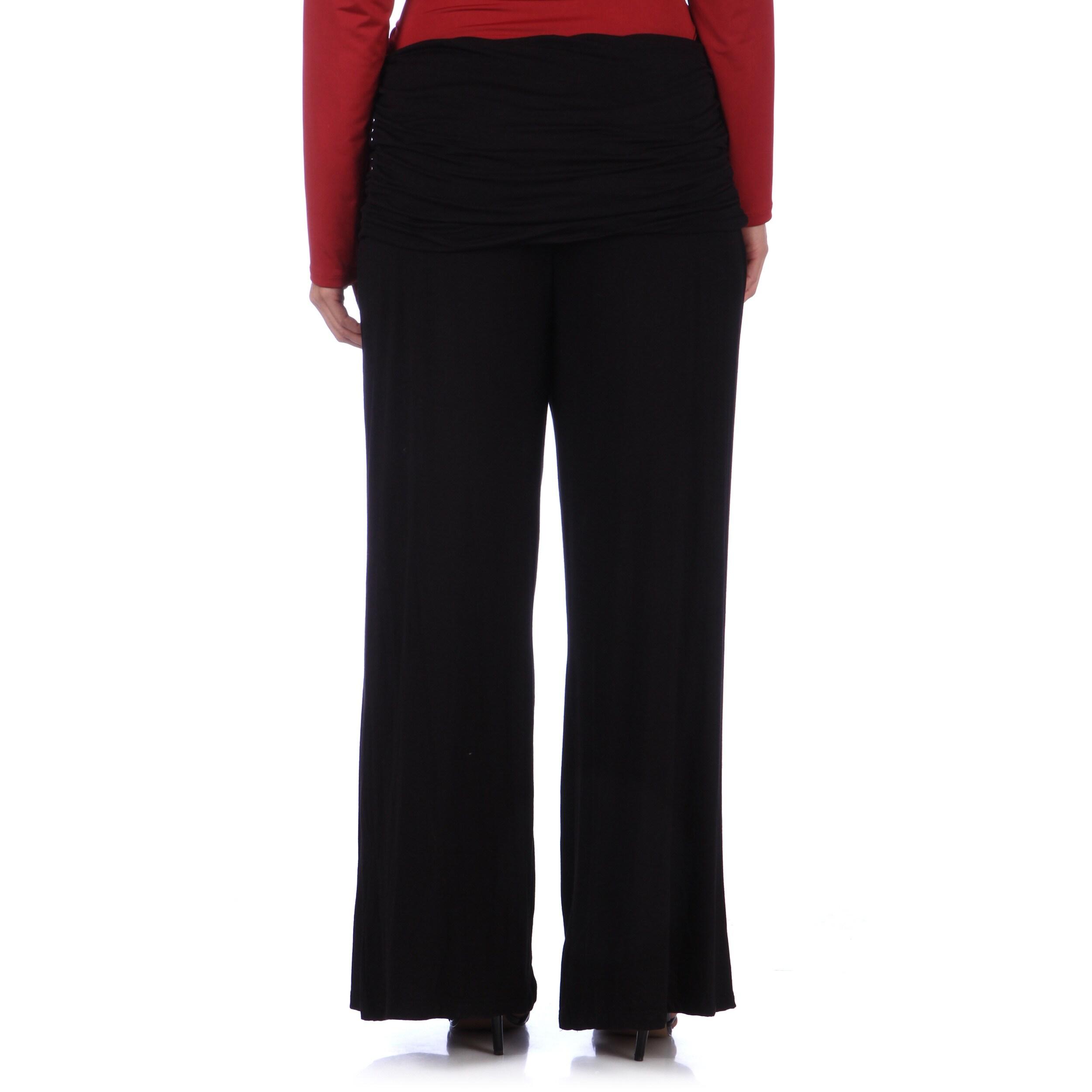 24/7 Comfort Apparel Women\'s Plus Size Wide-leg Palazzo Pants