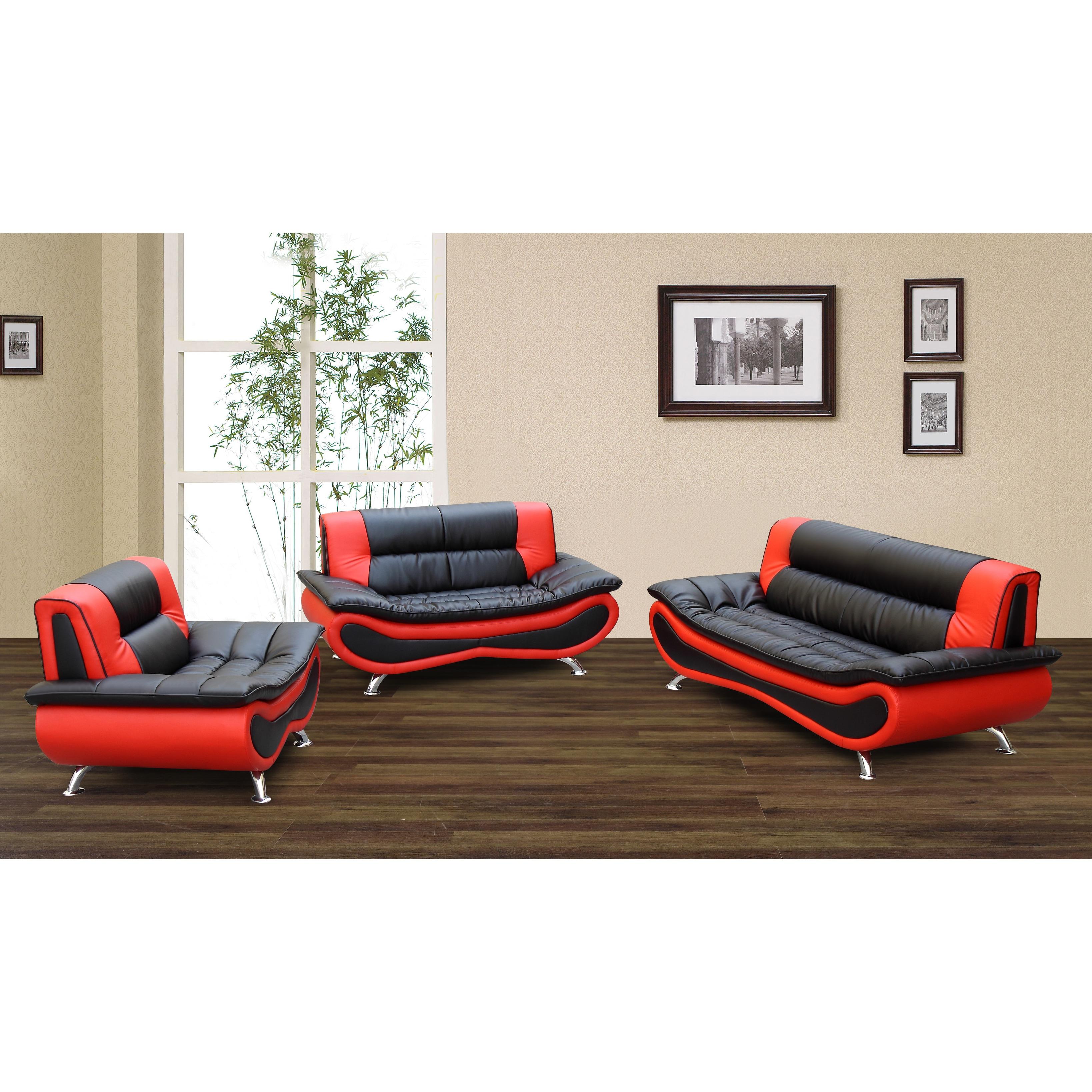 Shop Christina Red/ Black 2-tone Bonded Leather Modern Sofa Set ...
