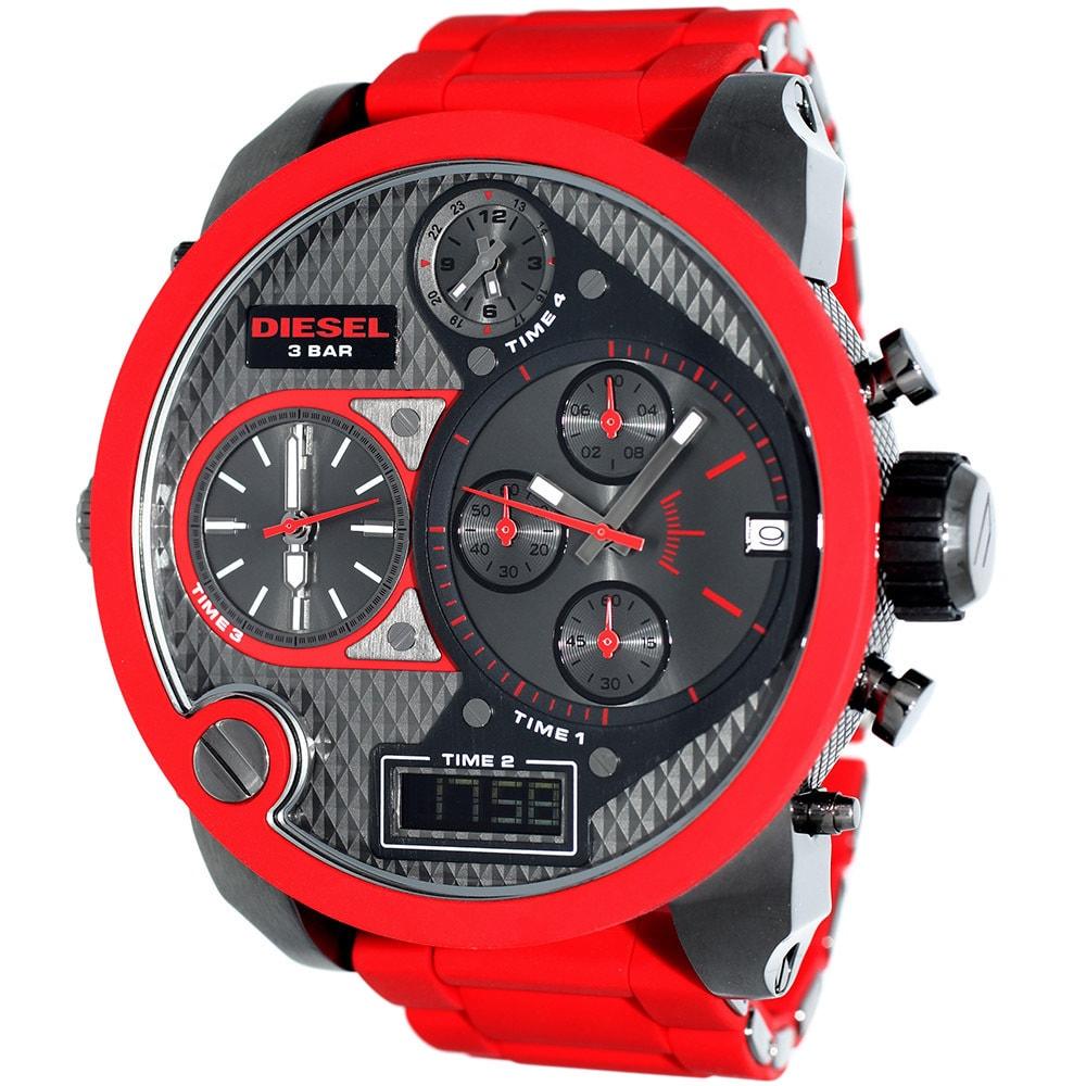 435a3896561 Shop Diesel Men s DZ7279 Mr. Daddy Round Red Bracelet Watch - Free Shipping  Today - Overstock - 8614364