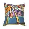 Handmade Multi-colored Dog Throw Pillow Cover , Handmade in India