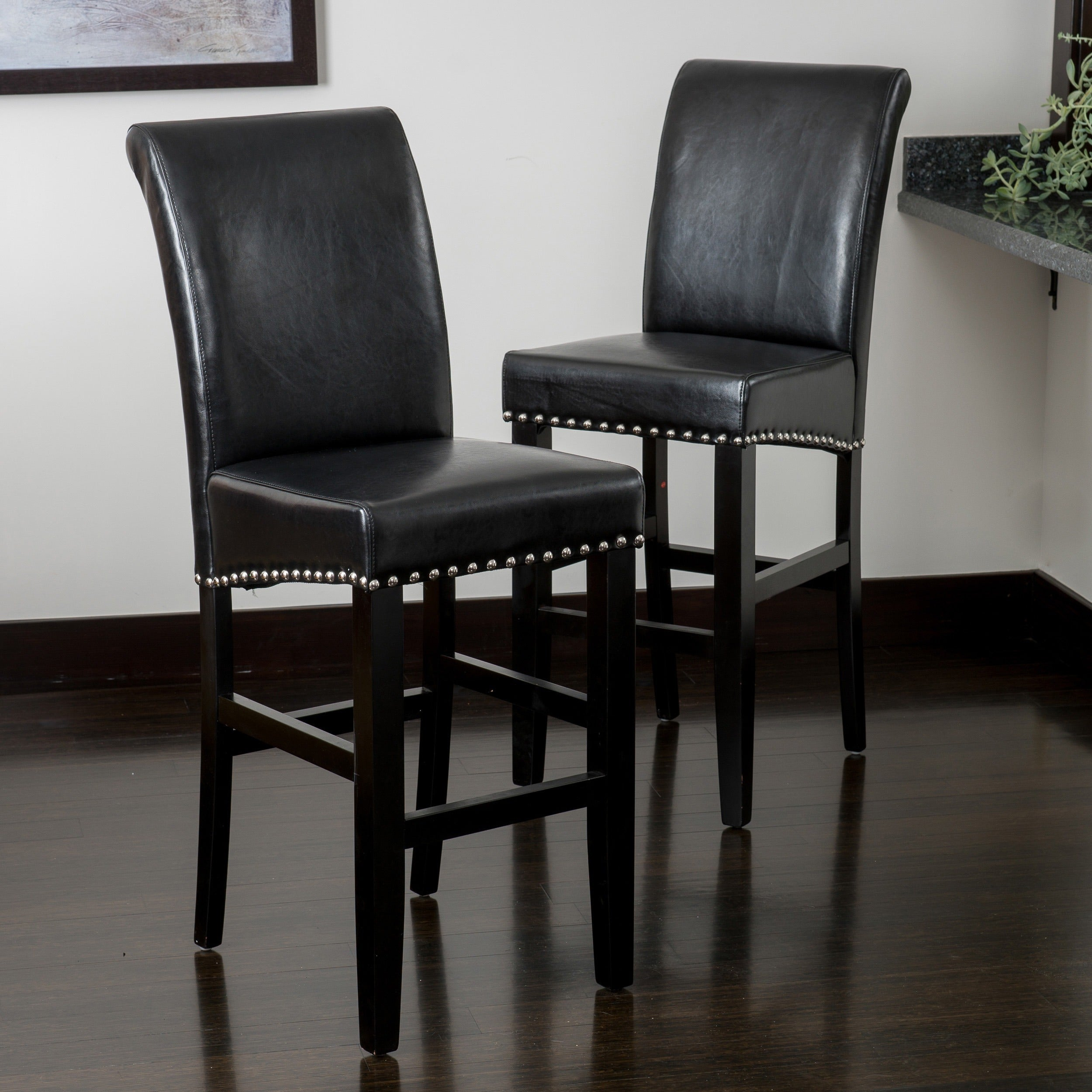 Lisette 47 inch leather bar stool set of 2 by christopher knight home