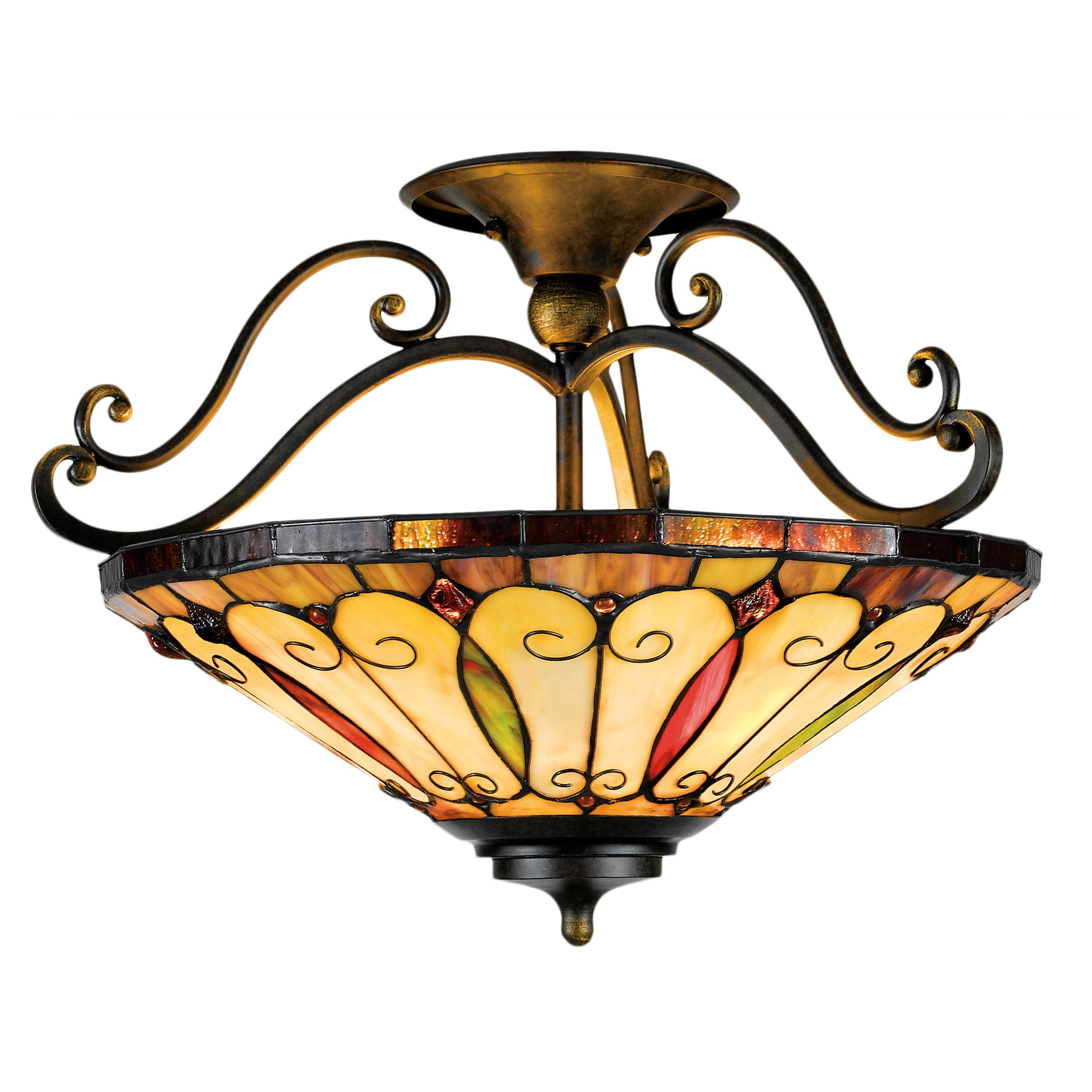 Tiffany Style 3 light Imperial Bronze Semi Flush Mount Free