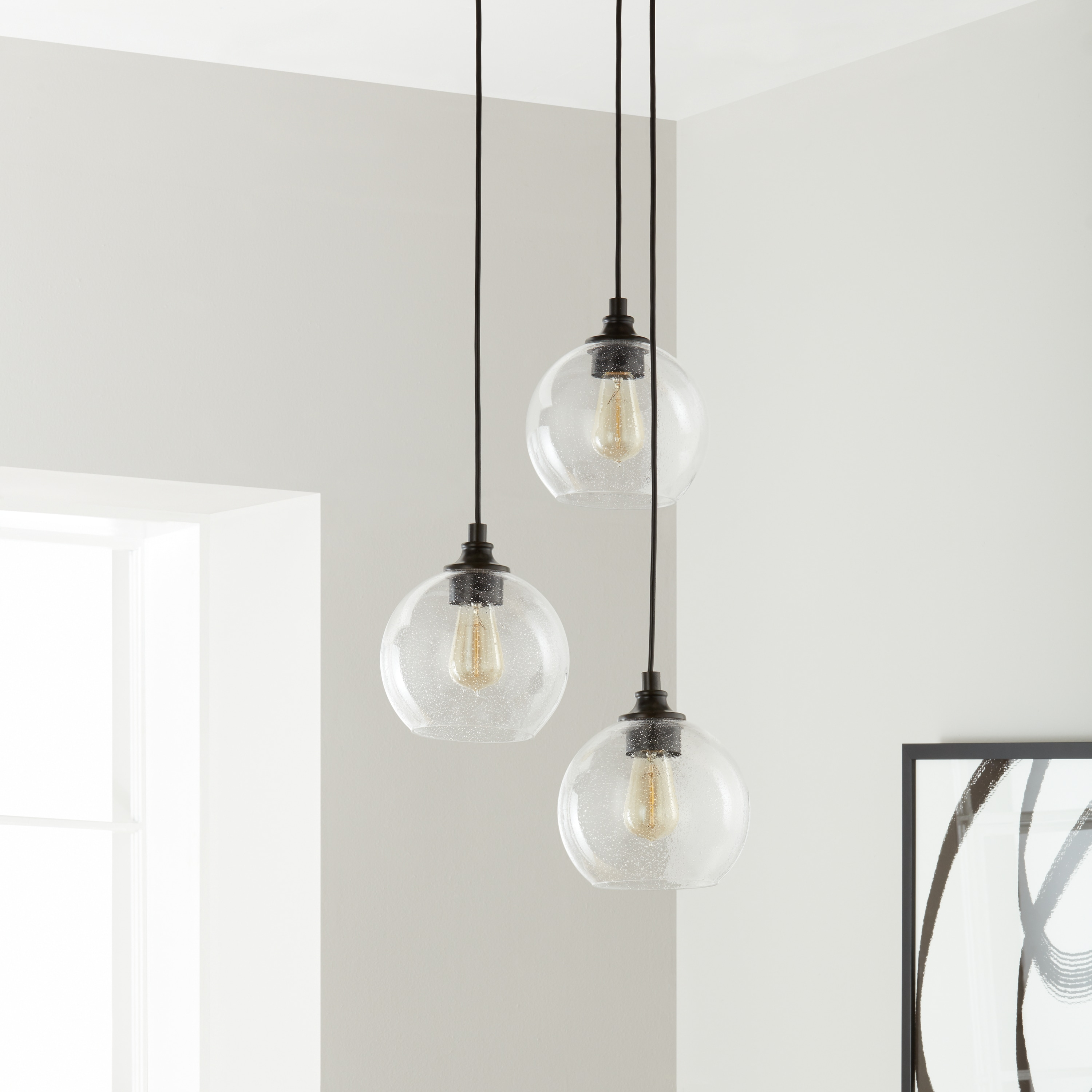 Uptown 3 light clear globe cluster pendant