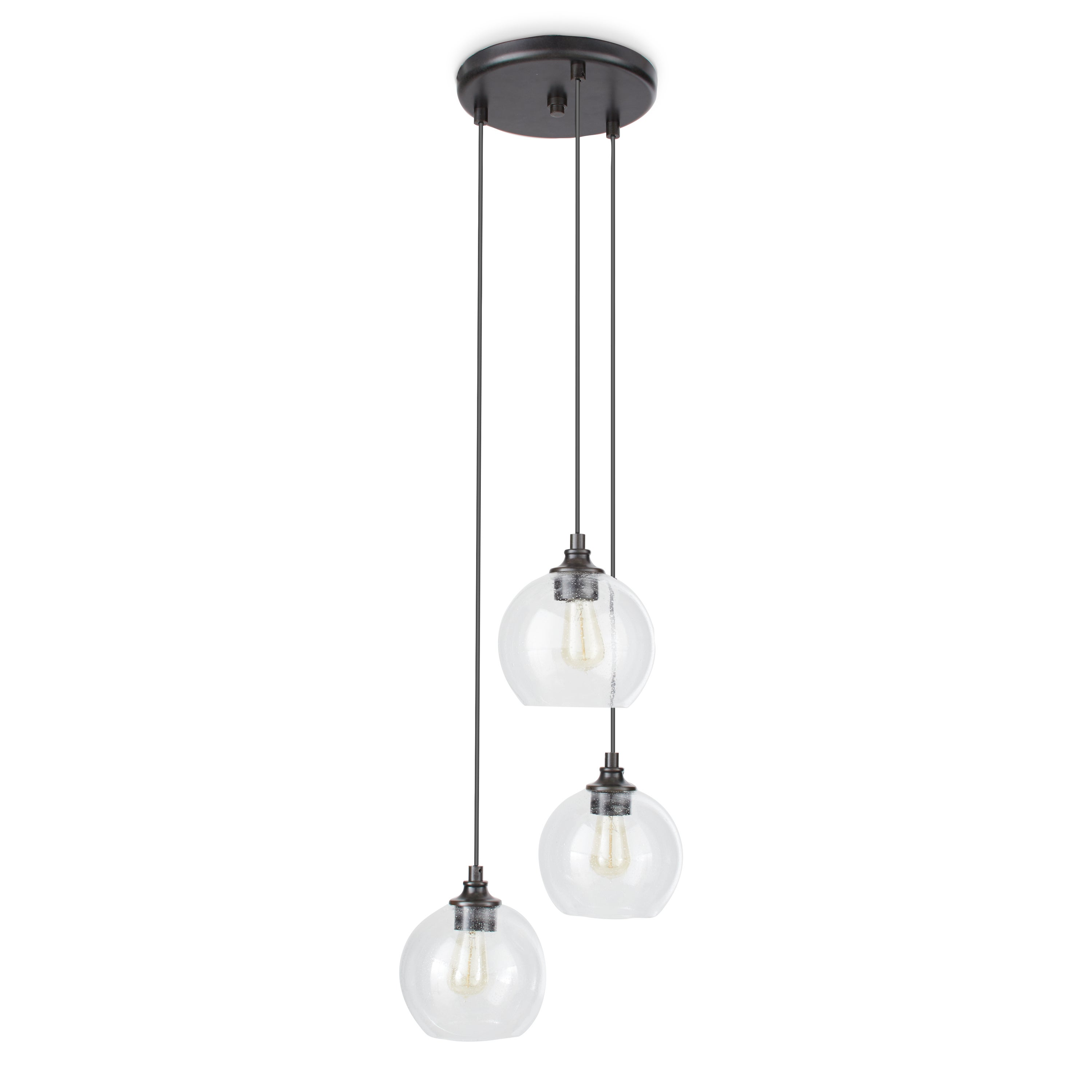 Shop Uptown 3-light Clear Globe Cluster Pendant - Free Shipping ...