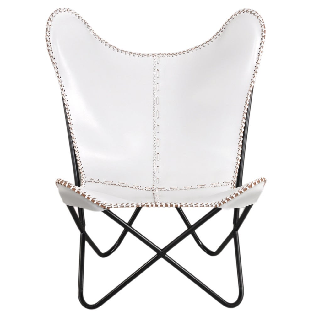 White Leather Erfly Chair Free Shipping Today 8624538