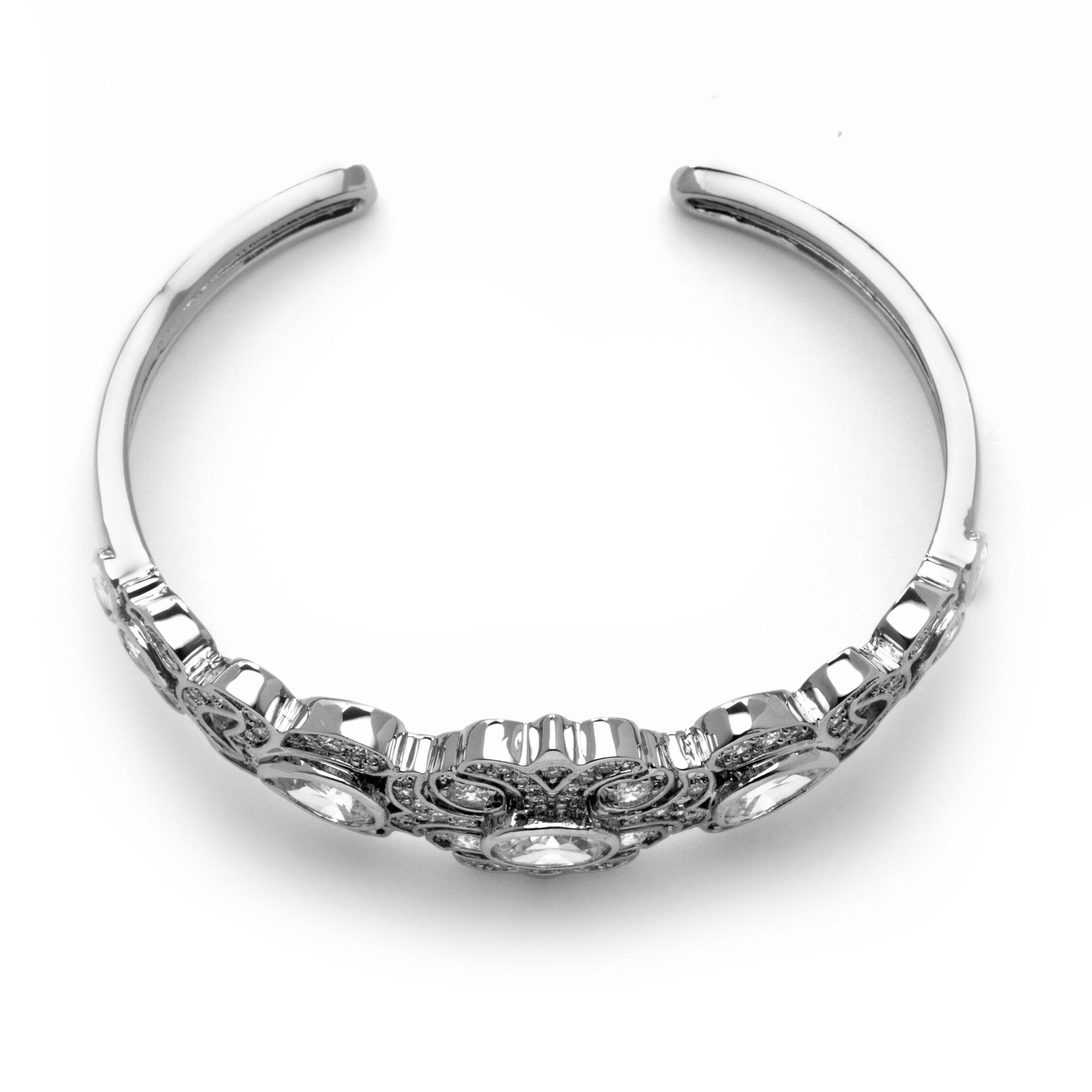 Shop PalmBeach 9.39 TCW Vintage-Style Cubic Zirconia Bangle Bracelet Platinum-Plated Glam CZ - Free Shipping Today - Overstock.com - 8625339
