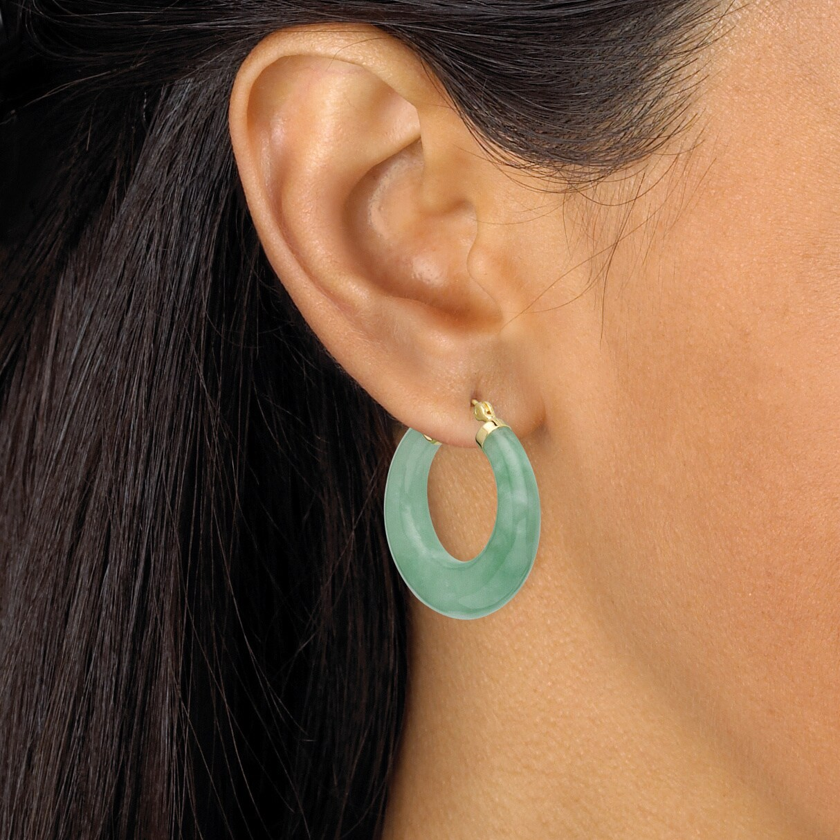 Green Jade Hoop Earrings In Golden Finish Over Sterling Silver Naturalist On Free Shipping Today 8625349