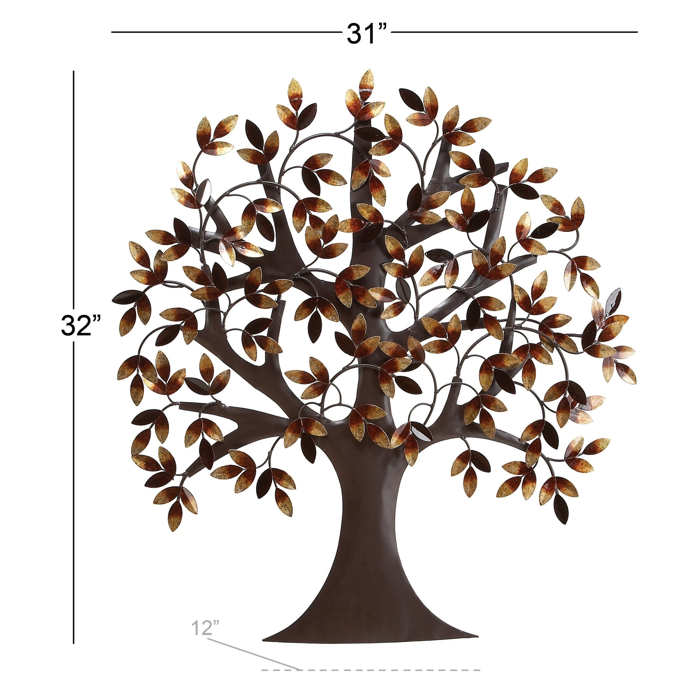 Shop 31 x 32 brown gold autumn leaves traditional metal wall art tree by studio 350 on sale free shipping today overstock com 8625928