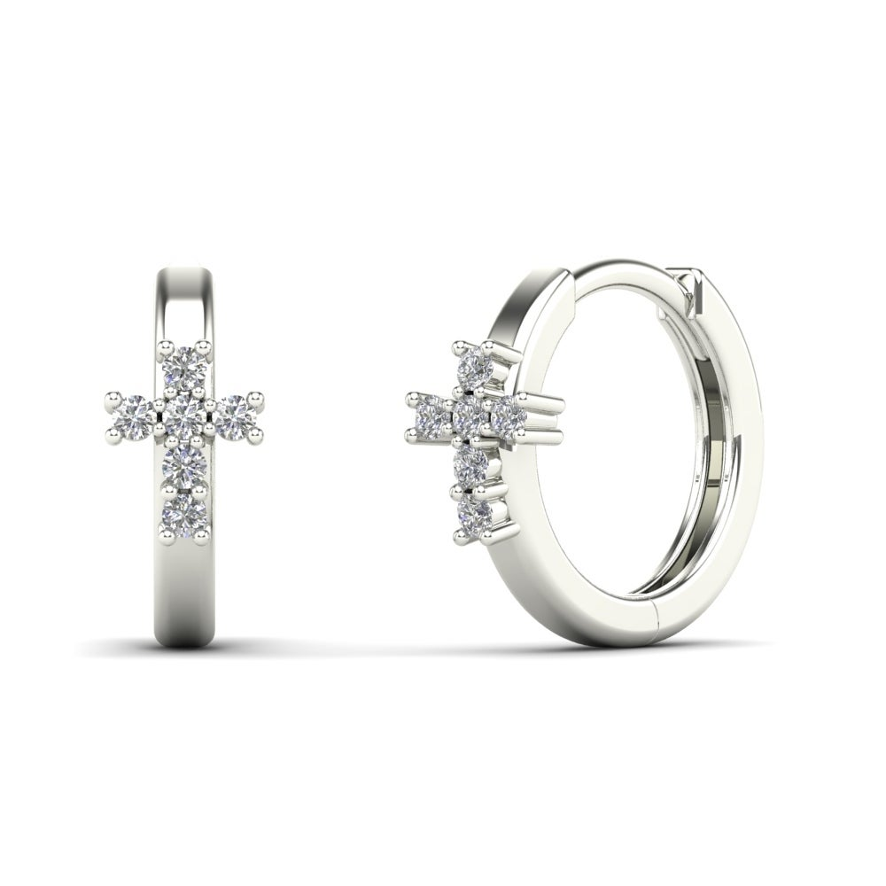 Aalilly 10k White Gold Children S Diamond Accent Cross Hoop Earrings On Free Shipping Today 8629185
