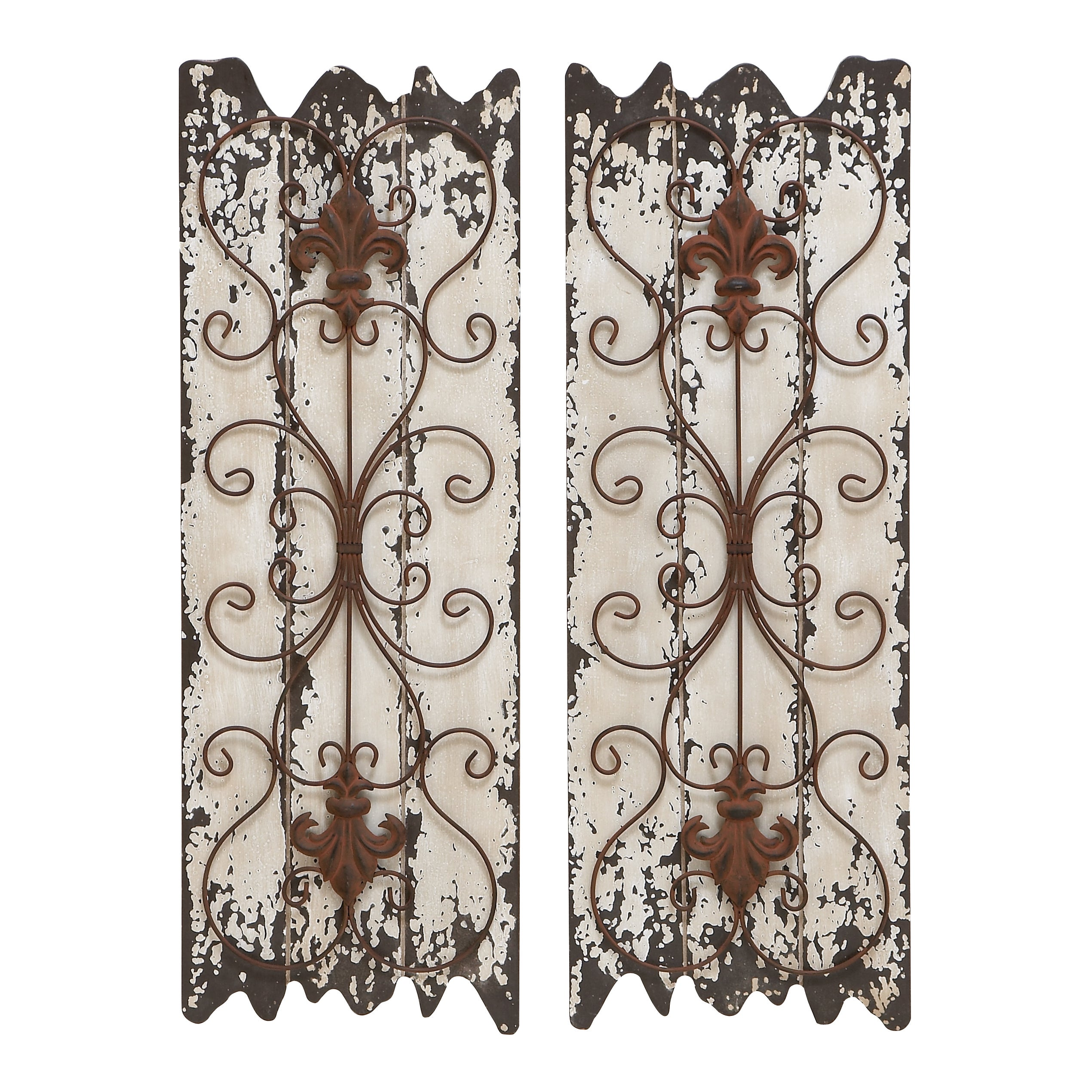 Shop Wood And Metal Wall Decor Panel Set Of 2 White Free