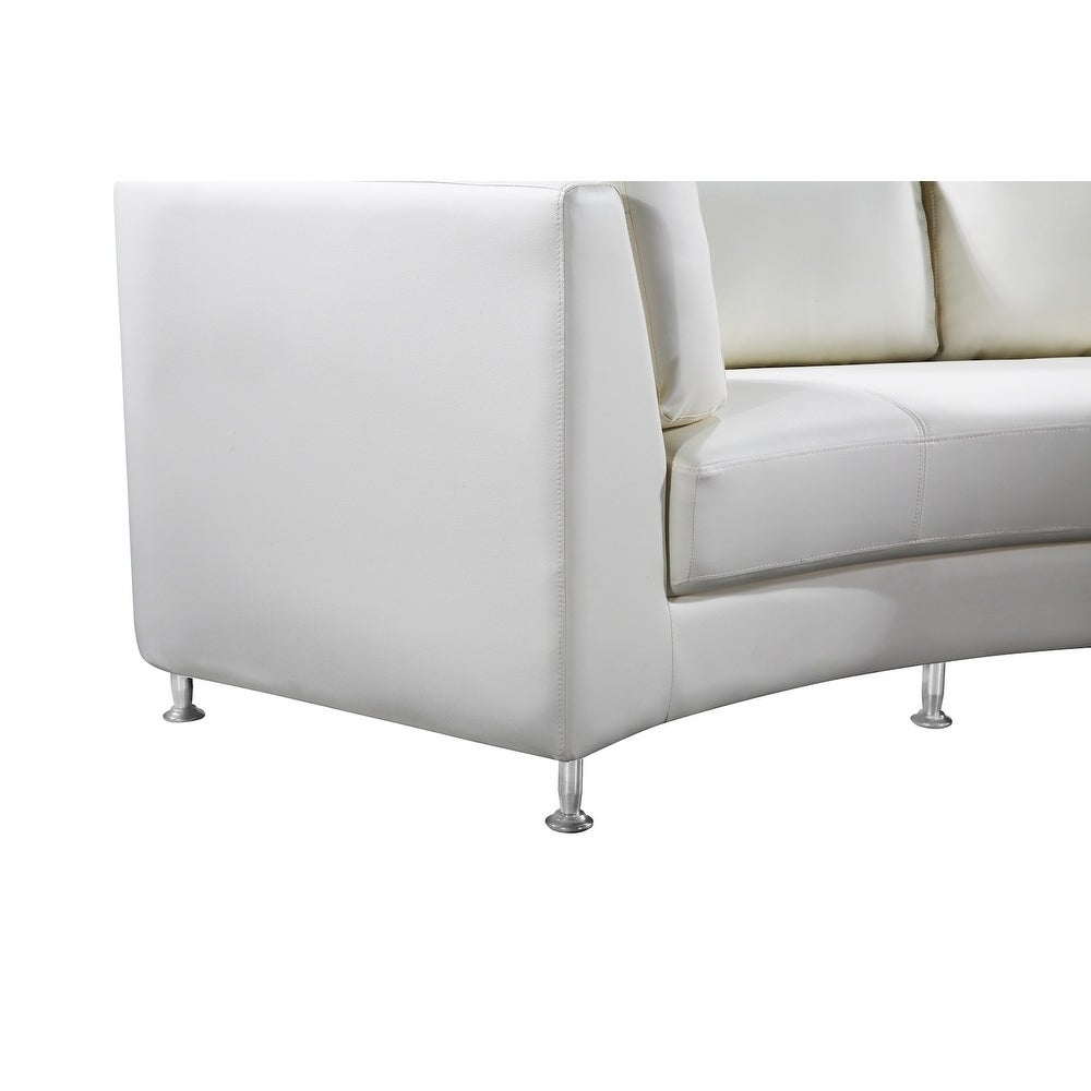 Modern White Leather Circular Sofa   ROSSINI   Free Shipping Today    Overstock.com   15905326