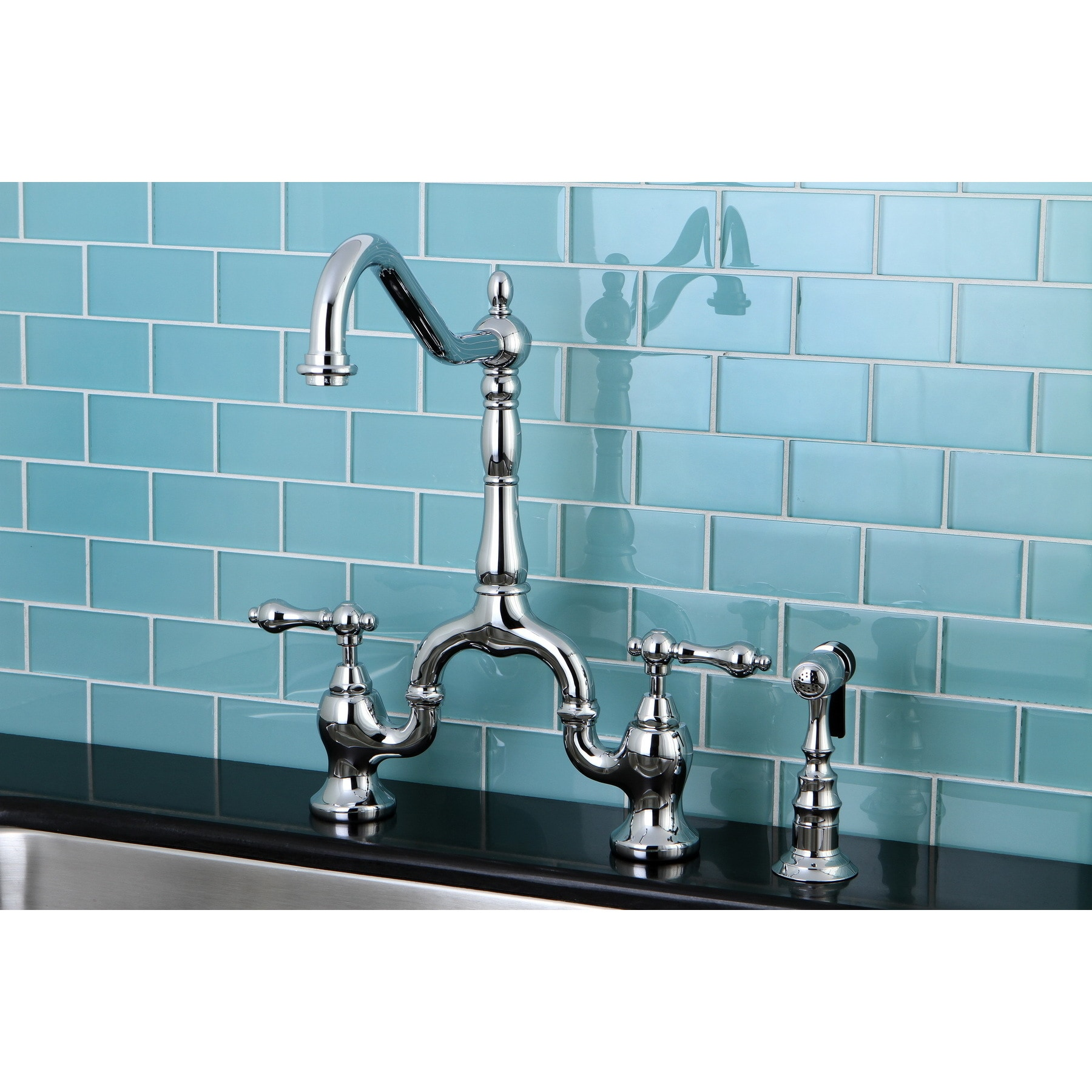 Shop Victorian High Spout Chrome Bridge Double-handle Kitchen Faucet ...