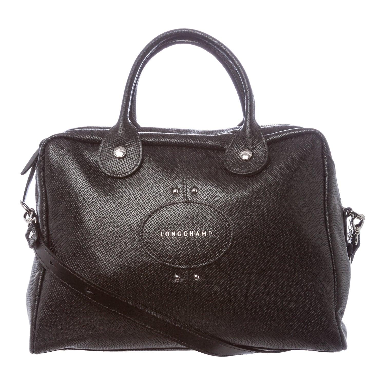 Shop Longchamp Quadri Black Stamped Leather Top Handle Satchel Quadry Bag Free Shipping Today 8657220