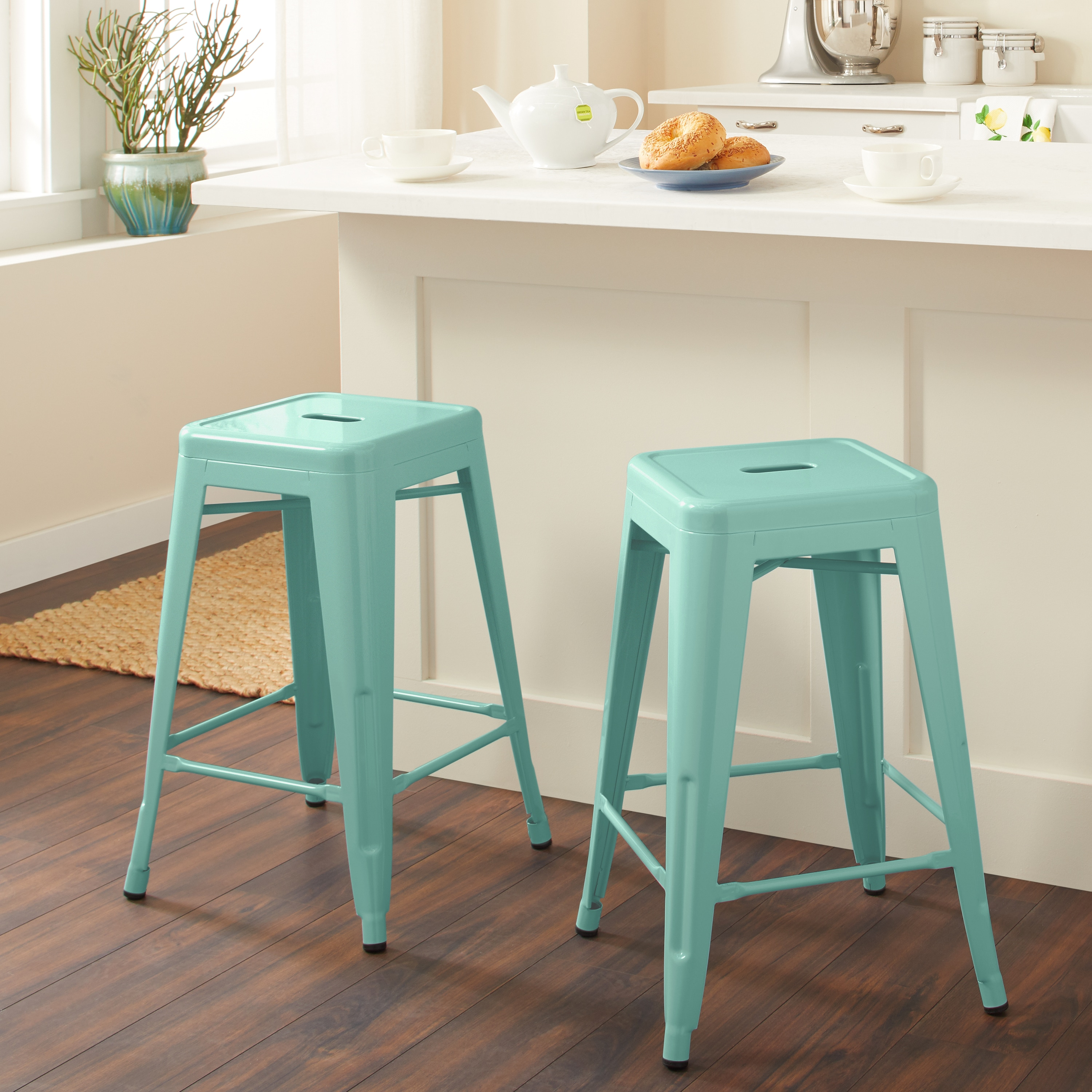 Shop Tabouret 24 Inch Hint Of Mint Counter Stools Set Of 2 Free