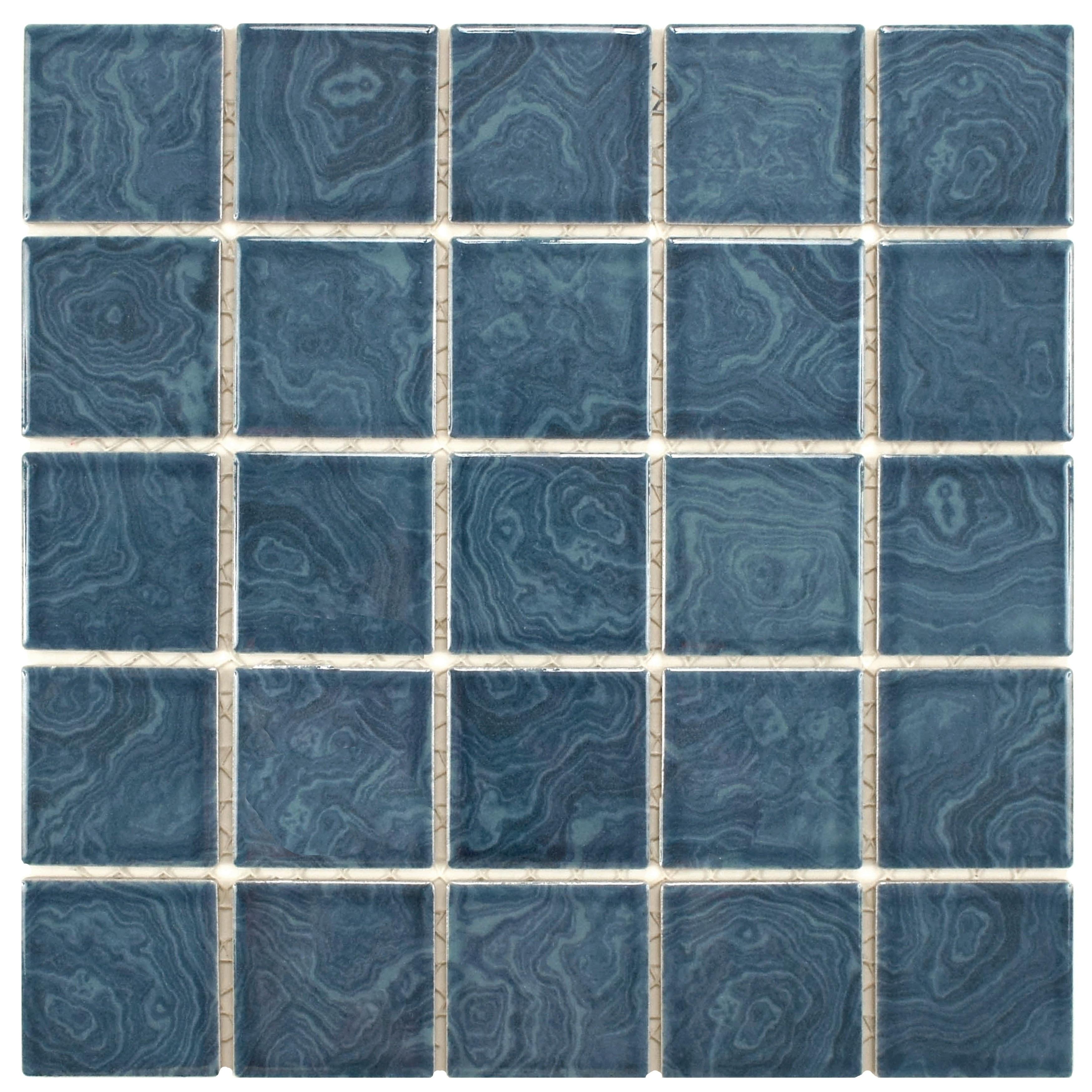 SomerTile 12x12-inch Paradise Beach Blue Porcelain Mosaic Floor and ...