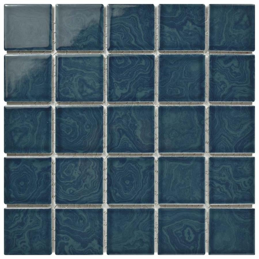 Shop SomerTile 12x12-inch Paradise Coral Blue Porcelain Mosaic Floor ...