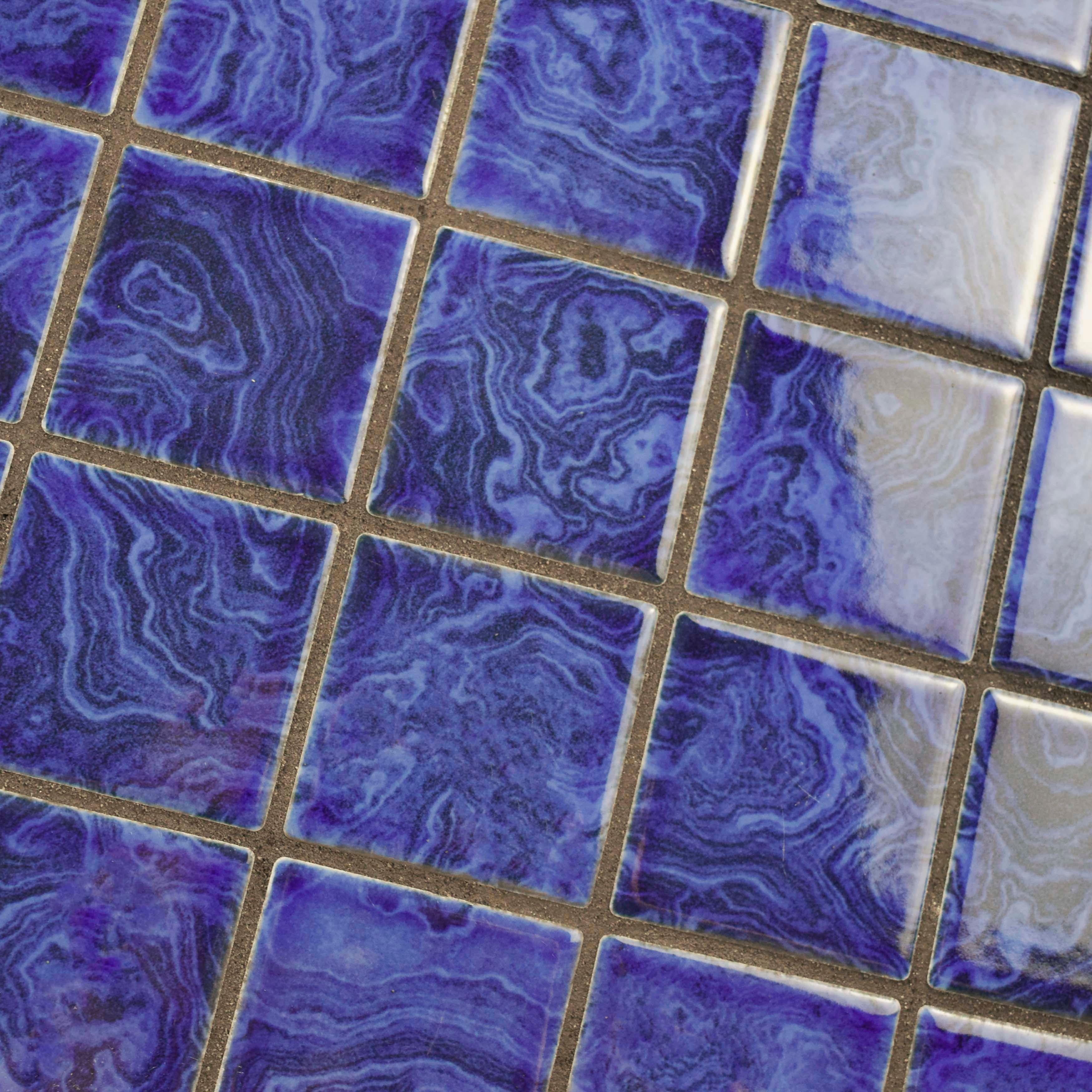 SomerTile 12x12-inch Paradise Marine Blue Porcelain Mosaic Floor and ...