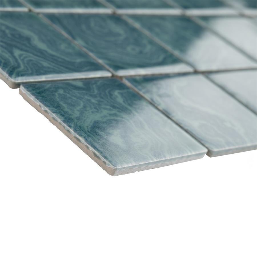 Shop SomerTile 12x12-inch Paradise Palm Green Porcelain Mosaic Floor ...