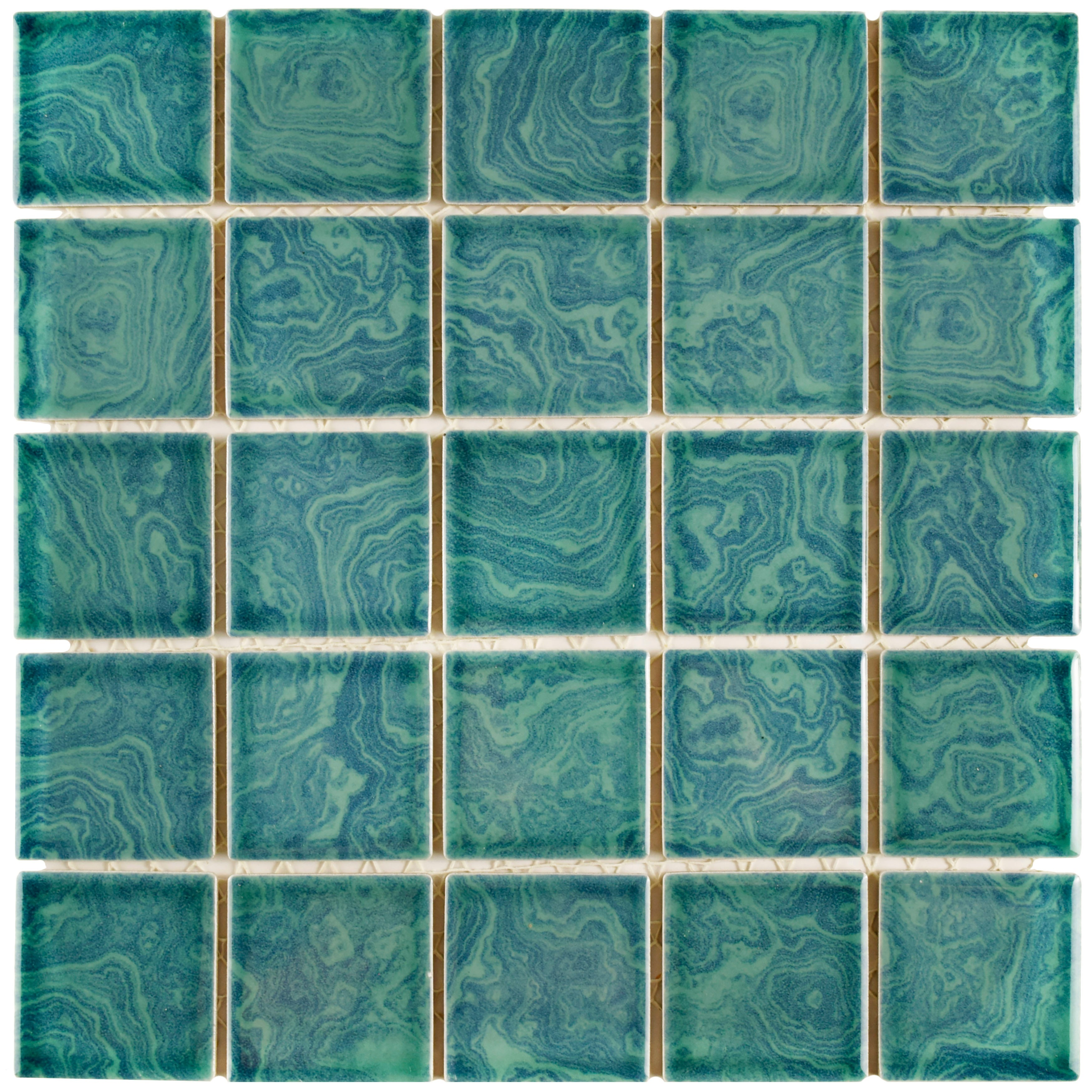 SomerTile 12x12-inch Paradise Palm Green Porcelain Mosaic Floor and ...
