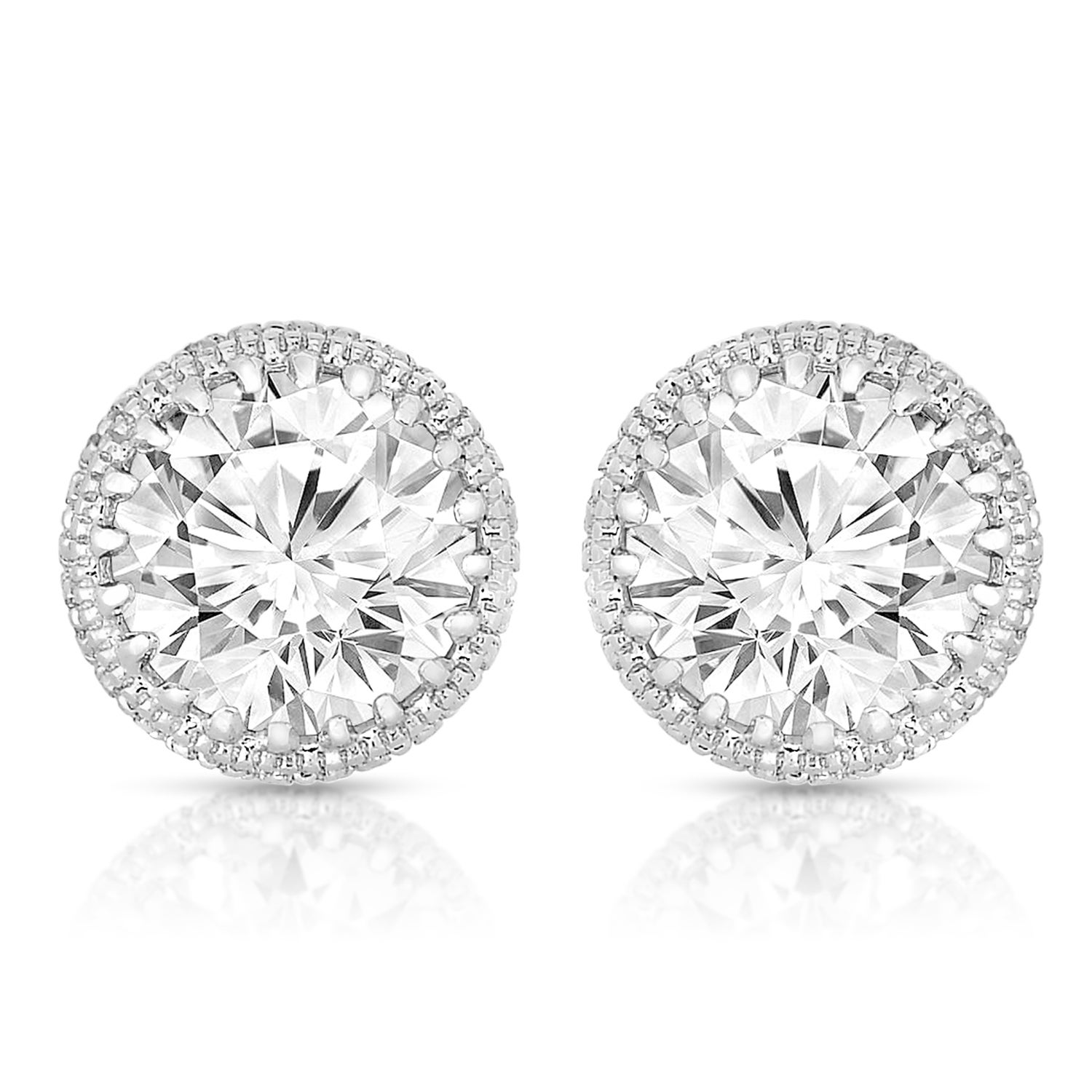 Collette Z Sterling Silver With Rhodium Plated Clear Round Cubic Zirconia Stud Earrings On Free Shipping Orders Over 45