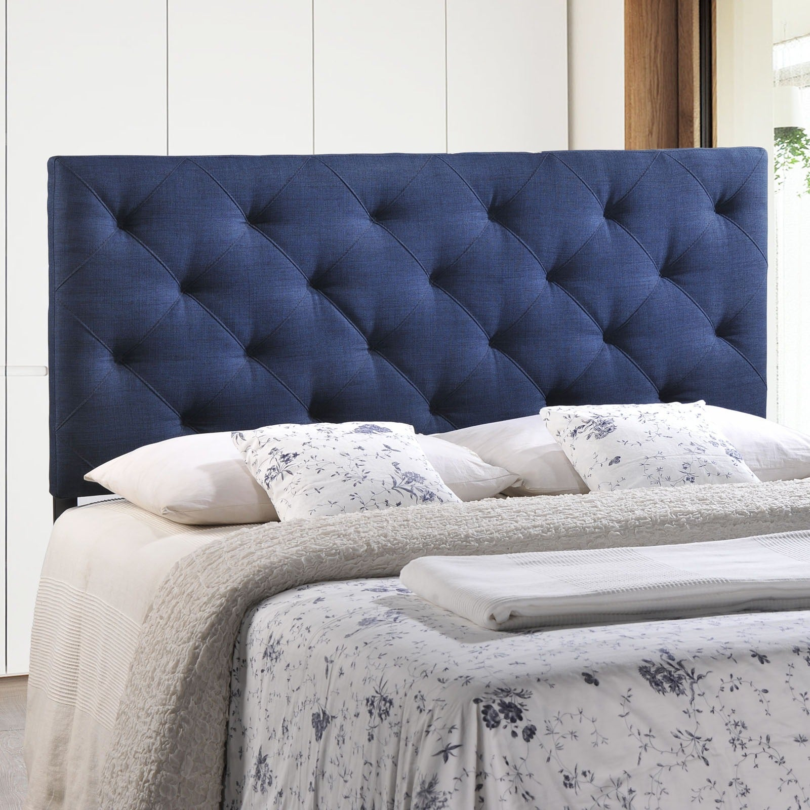 Theodore Queen Linen Tufted Headboard   Free Shipping Today   Overstock.com    15932525