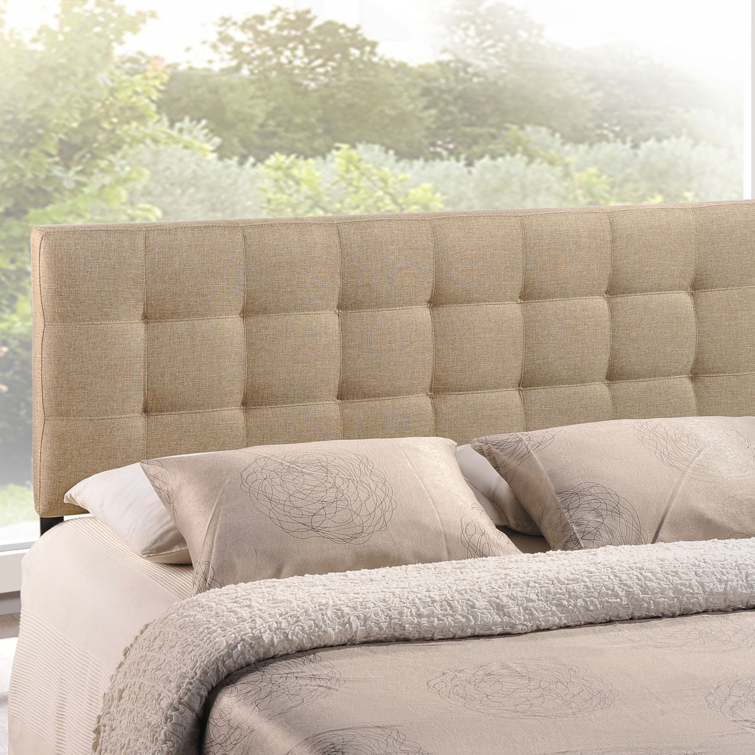 Shop Lily Queen-size Tufted Linen Headboard - Free Shipping Today ...