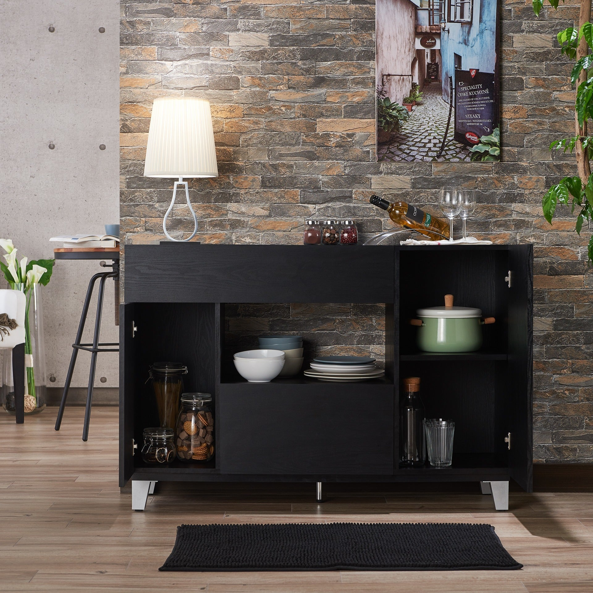 Shop Furniture Of America Carrera Contemporary Black Dining Buffet Storage  Server   On Sale   Free Shipping Today   Overstock.com   8682774