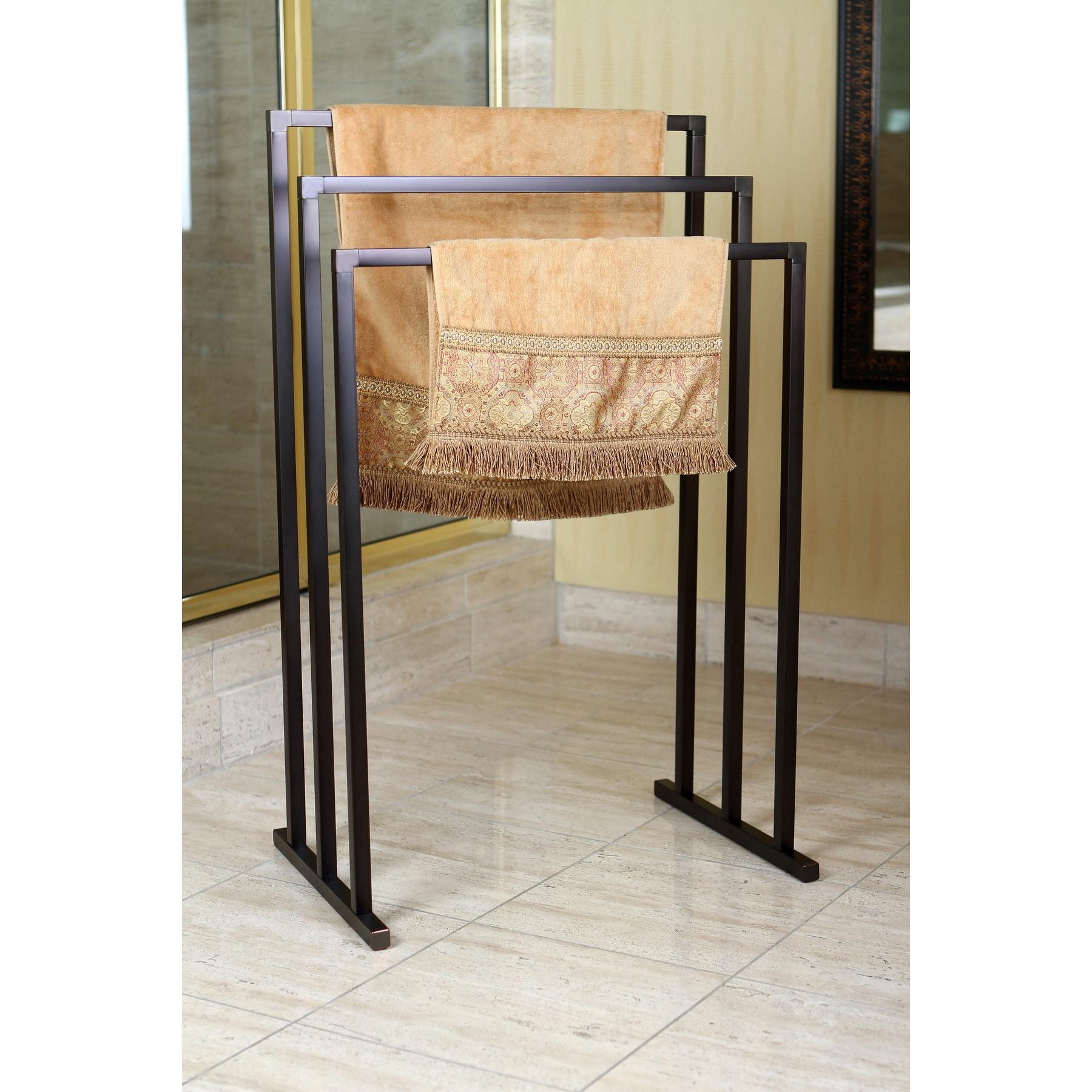 Kingston Brass Pedestal Oil-rubbed Bronze 3-tier Iron Towel Rack