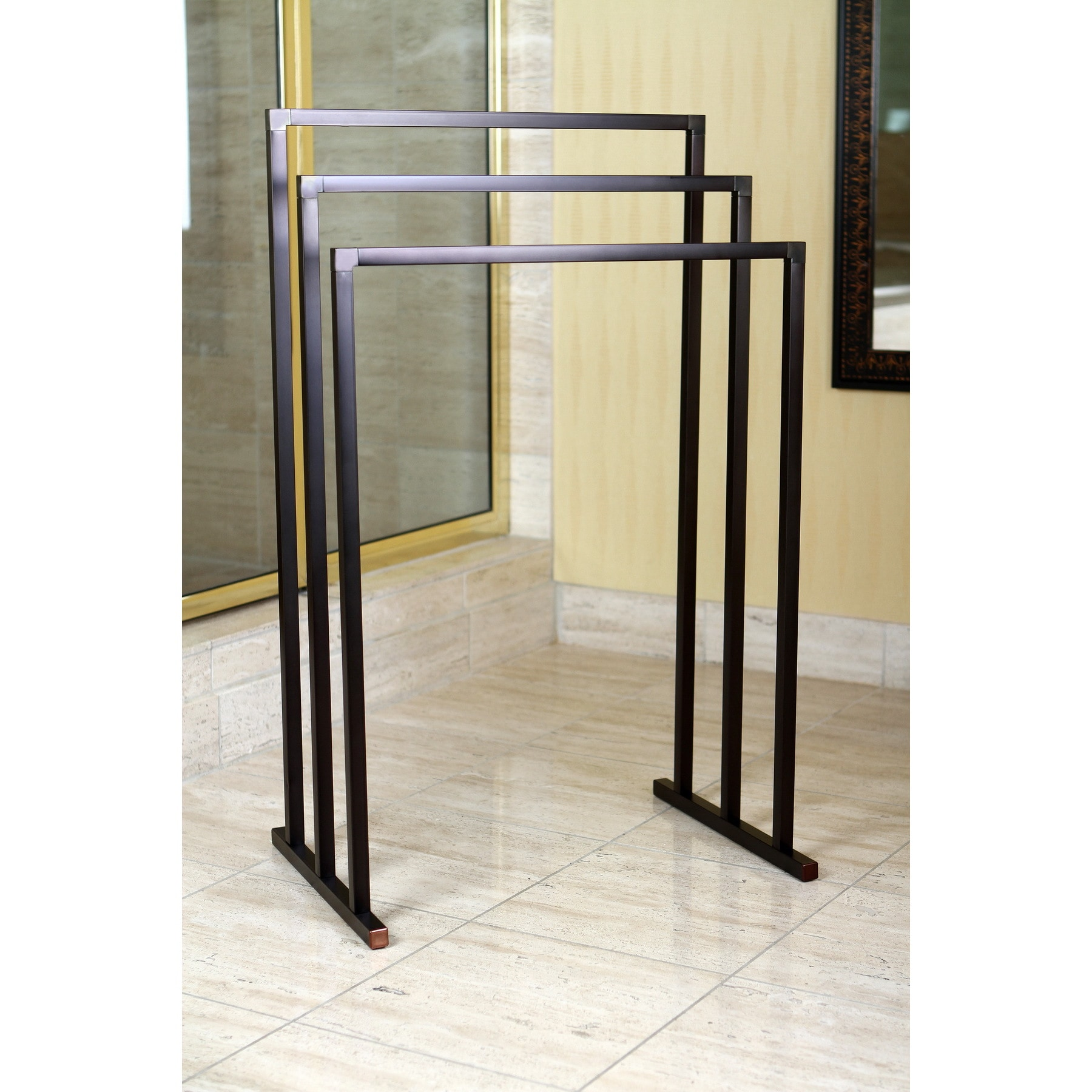 Shop Pedestal Oil Rubbed Bronze 3-tier Iron Towel Rack - Free ...