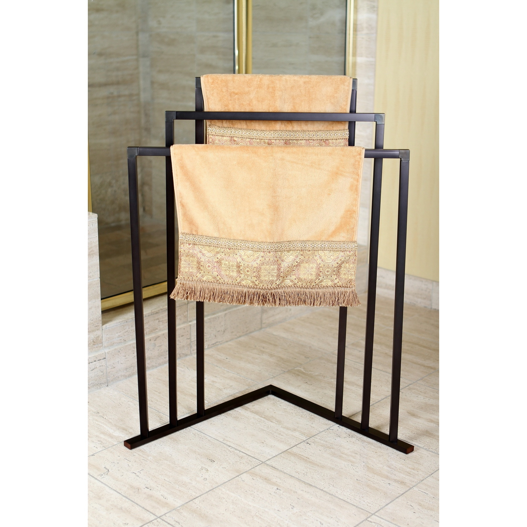 Oil Rubbed Bronze 3-tier Iron Construction Corner Towel Rack
