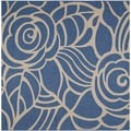 Safavieh Courtyard Roses Blue/ Beige Indoor/ Outdoor Rug (7'10 Square)