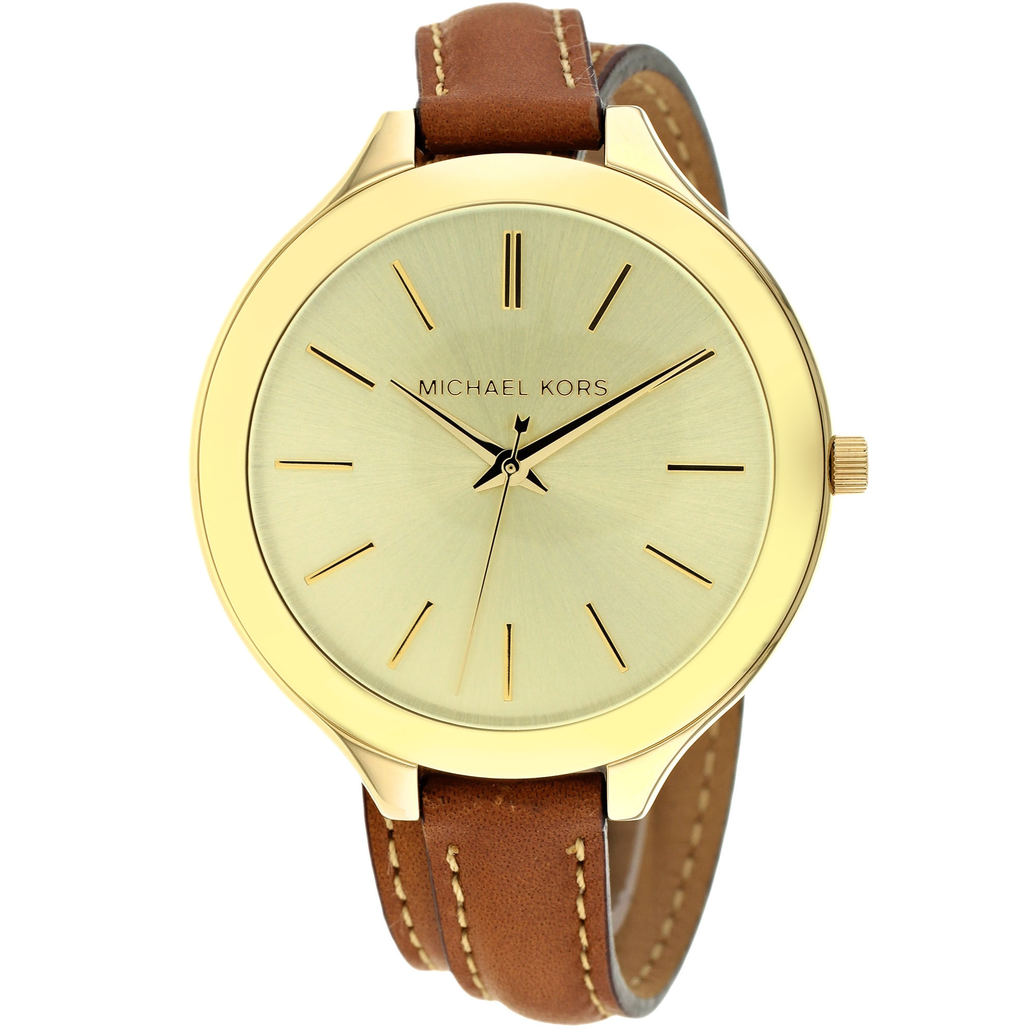 0fbc2a32d8a7 Shop Michael Kors Women s MK2256  Runway  Slim Double Leather Watch - Gold  - Free Shipping Today - Overstock - 8685344