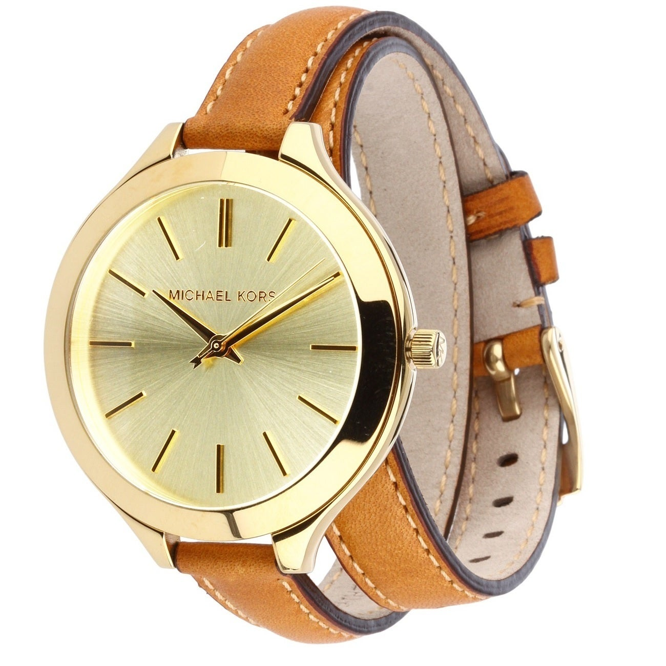 866bb0f4e4fe Shop Michael Kors Women s MK2256  Runway  Slim Double Leather Watch - Gold  - Free Shipping Today - Overstock - 8685344