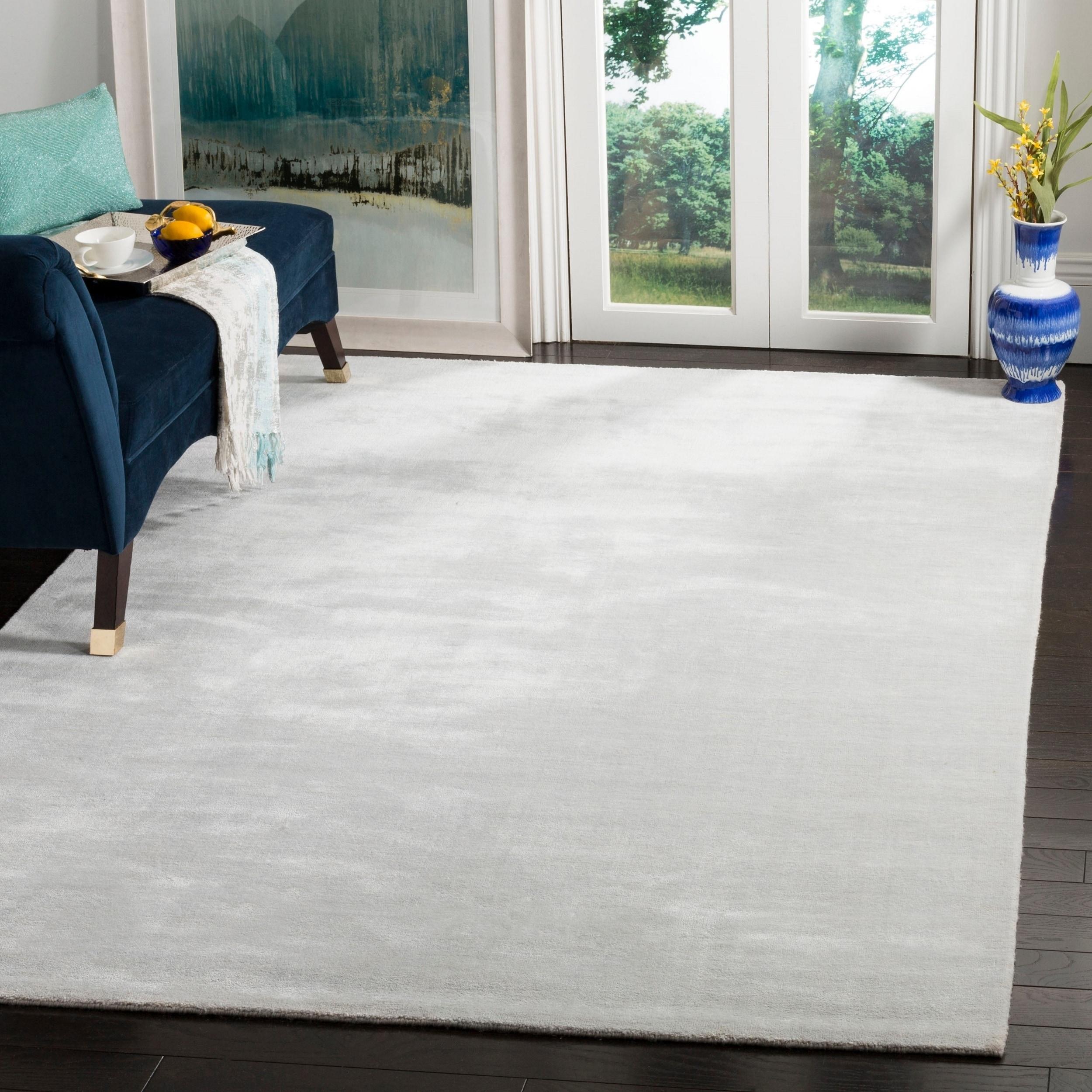 Safavieh handmade mirage modern tonal silver grey viscose rug 8 x 10