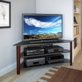 CorLiving Alturas Stained Wood Corner TV Stand for up to 68-inch TVs