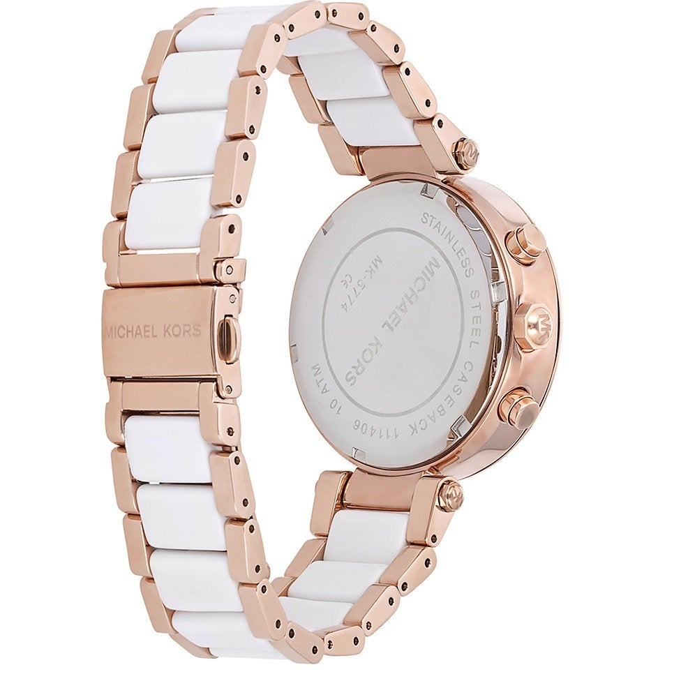 3967ade68548 Shop Michael Kors Women s MK5774 Parker Chronograph Rose Goldtone White  Resin Watch - Free Shipping Today - Overstock - 8692802
