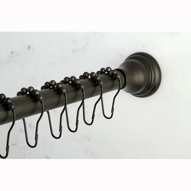 Oil Rubbed Bronze Adjustable Shower Curtain Rod With Hooks
