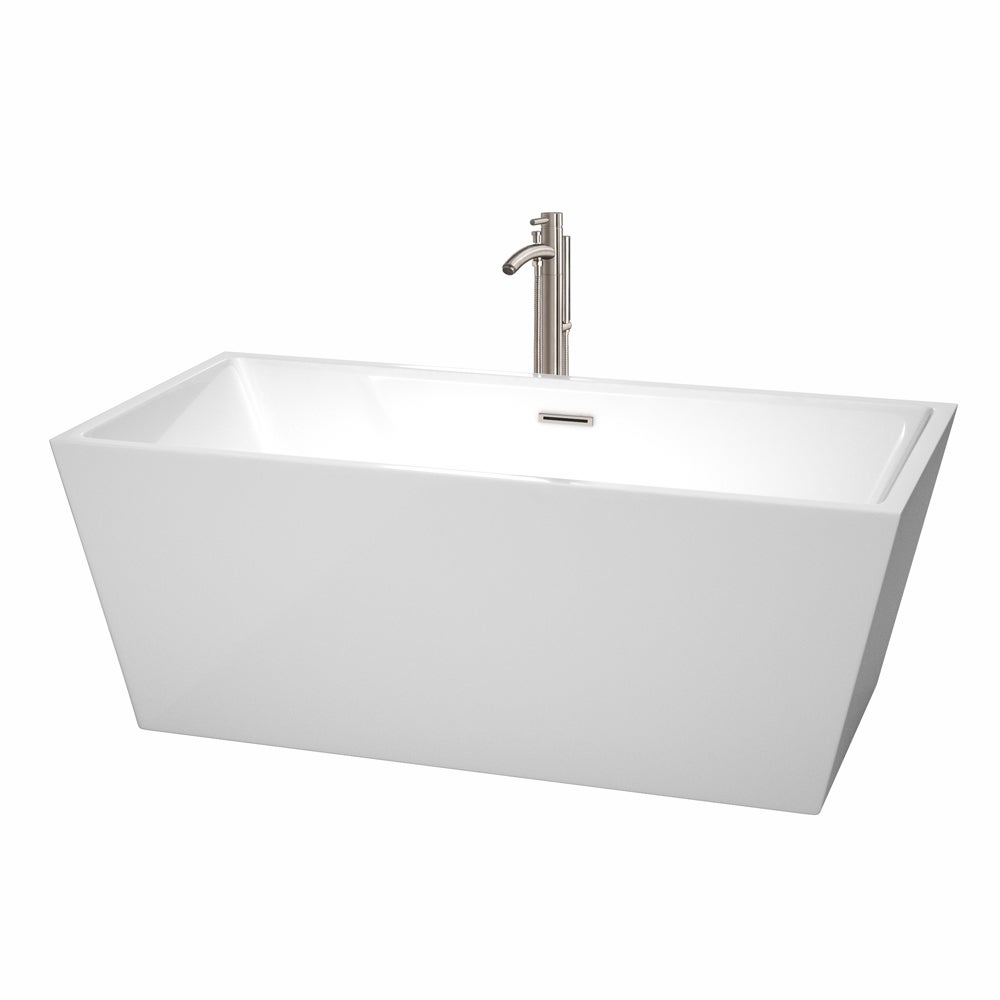 Shop Wyndham Collection Sara 63 Inch White Acrylic Soaking Bathtub   Free  Shipping Today   Overstock.com   8694930