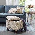 Clay Alder Home Campbell Allison Square Storage Ottoman with 2 Pillows