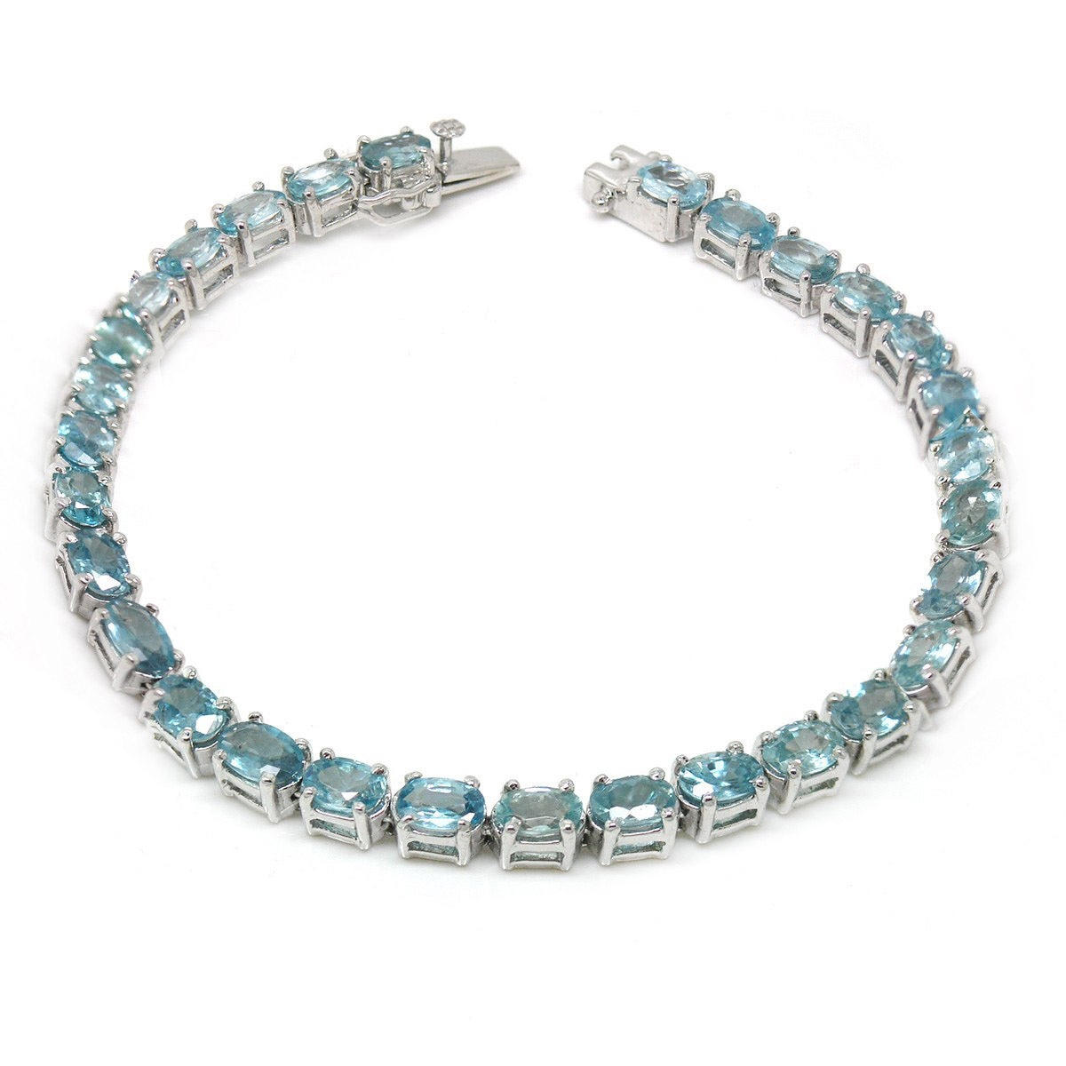 De An Sterling Silver Natural Amethyst Or Blue Zircon Bracelet On Free Shipping Today 8698381