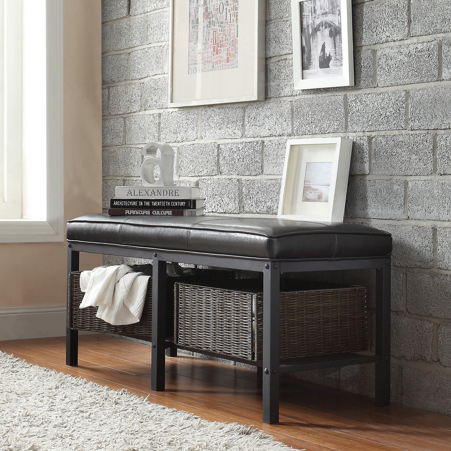 Myra II Black Brown Faux Leather Upholstered Modern Rustic Bench by iNSPIRE  Q Classic - Free Shipping Today - Overstock.com - 15950167