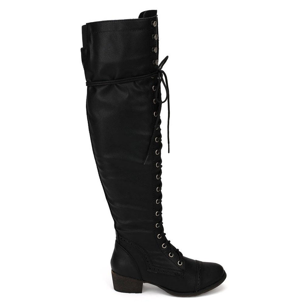 1f8fefe29b4 Shop Breckelle s Women s Alabama-12 Elastic Over-the-knee Combat Boots -  Free Shipping Today - Overstock - 8704622