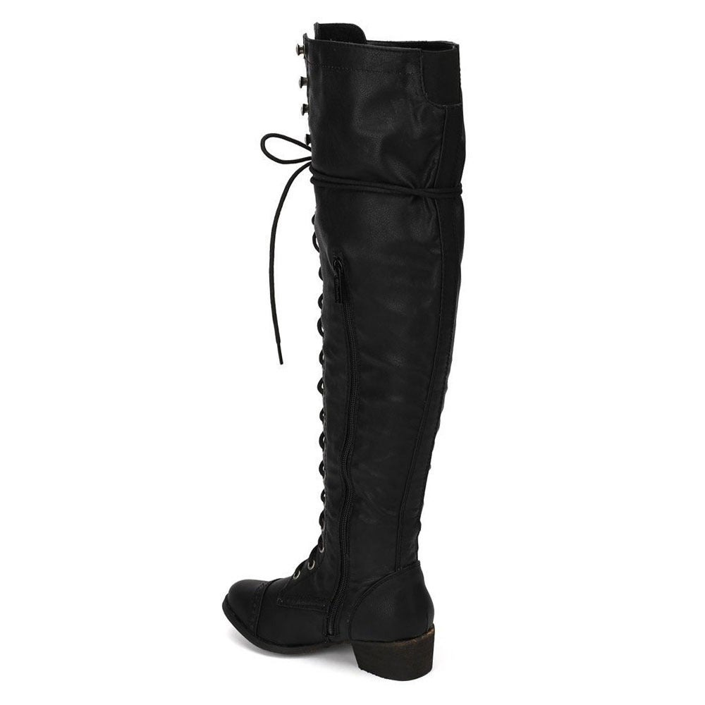 59ff3ea512f Shop Breckelle s Women s Alabama-12 Elastic Over-the-knee Combat Boots -  Free Shipping Today - Overstock - 8704622