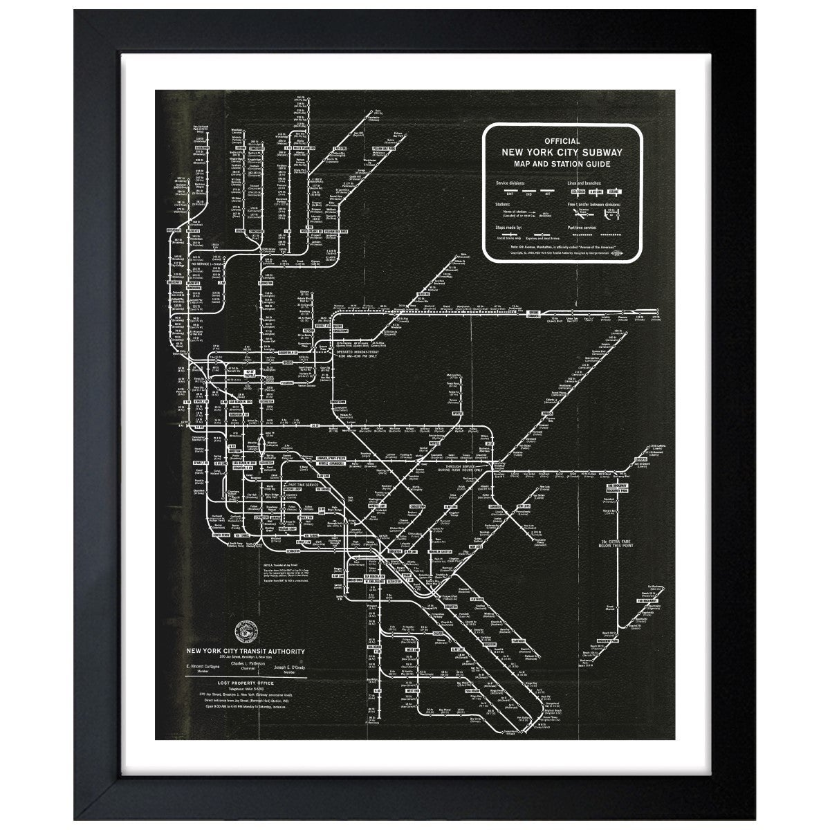 Framed New York Subway Map.Oliver Gal New York Subway Map 1958 Framed Art