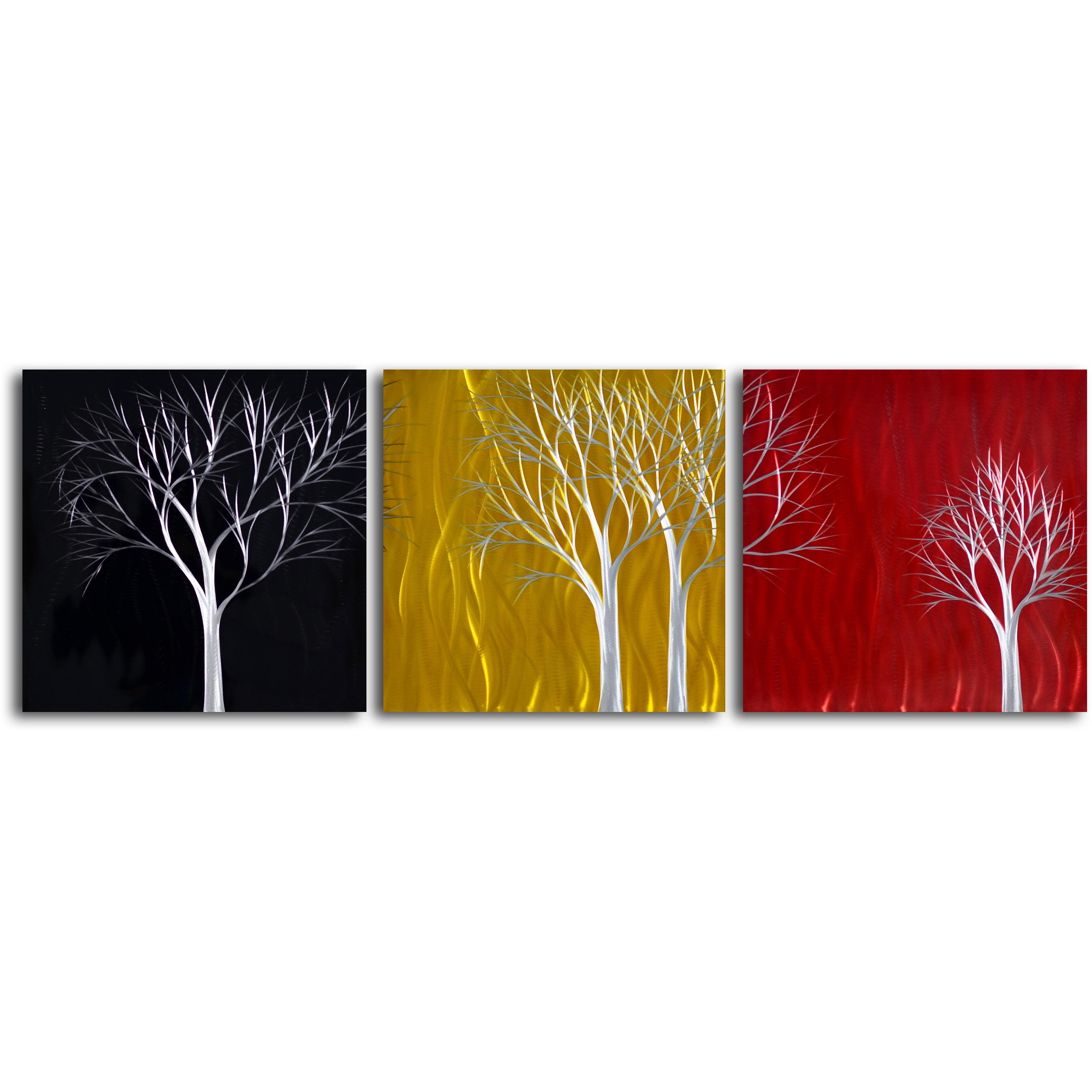 Shop \'Seasons Pass\' Handcrafted 3-piece Metal Wall Art Set - On Sale ...