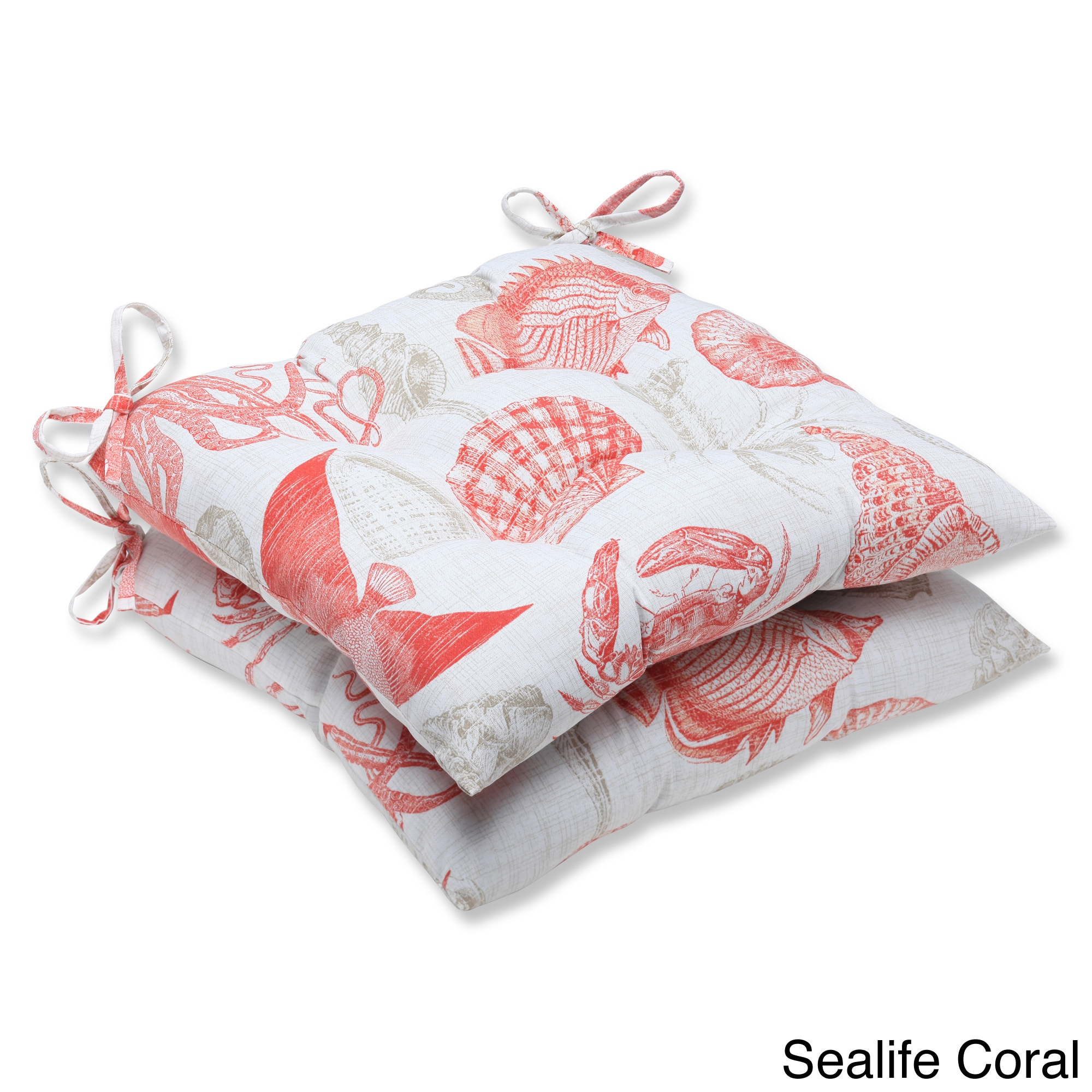 Shop Pillow Perfect Sealife Outdoor Wrought Iron Seat Cushion Set